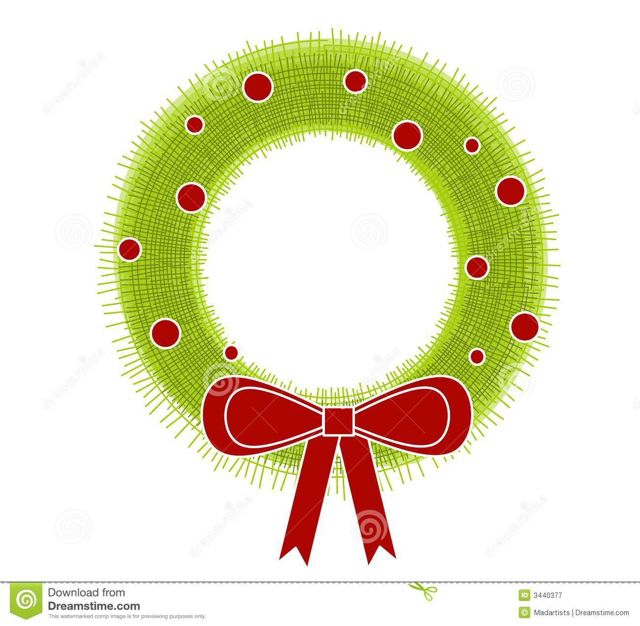 clip art illustration of a rustic looking Christmas Wreath with big ...