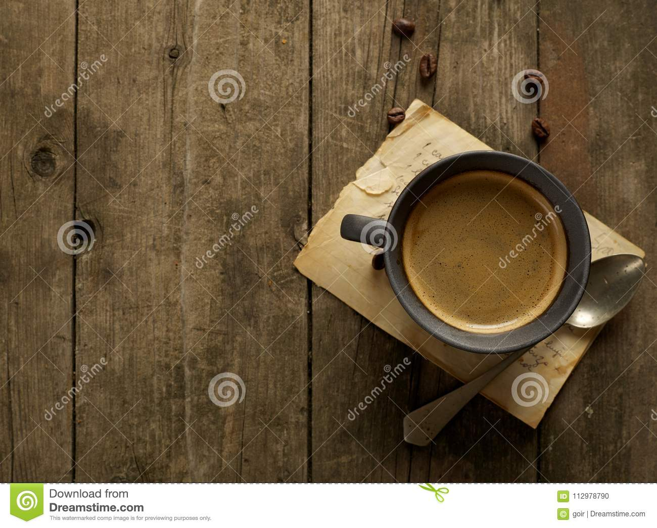 Rustic coffee from above