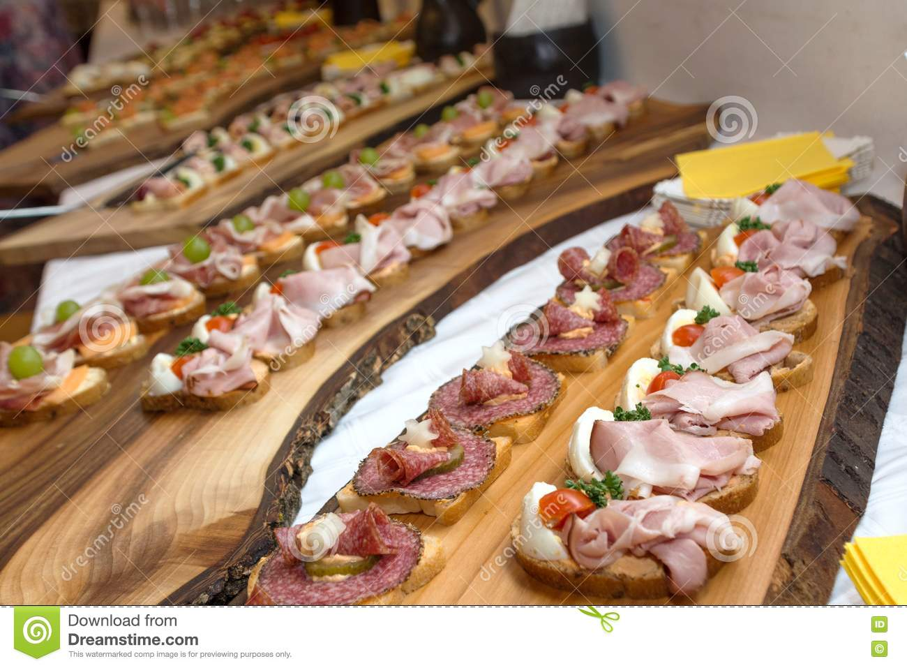 Download Rustic Cold Buffet On Wooden Board Stock Photo