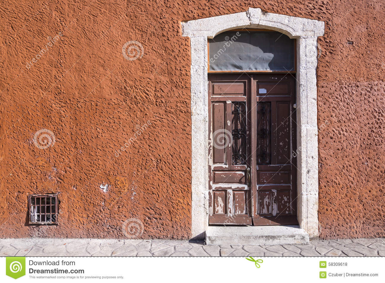 Rustic colonial style entry door stock photo image 58309618 for Colonial entry door