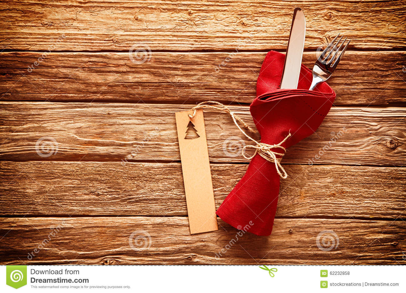 Rustic Colorful Red Christmas Place Setting Stock Photo