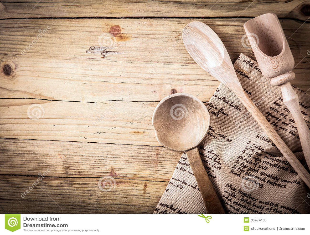 Rustic Cooking Utensils With A Recipe Royalty Free Stock