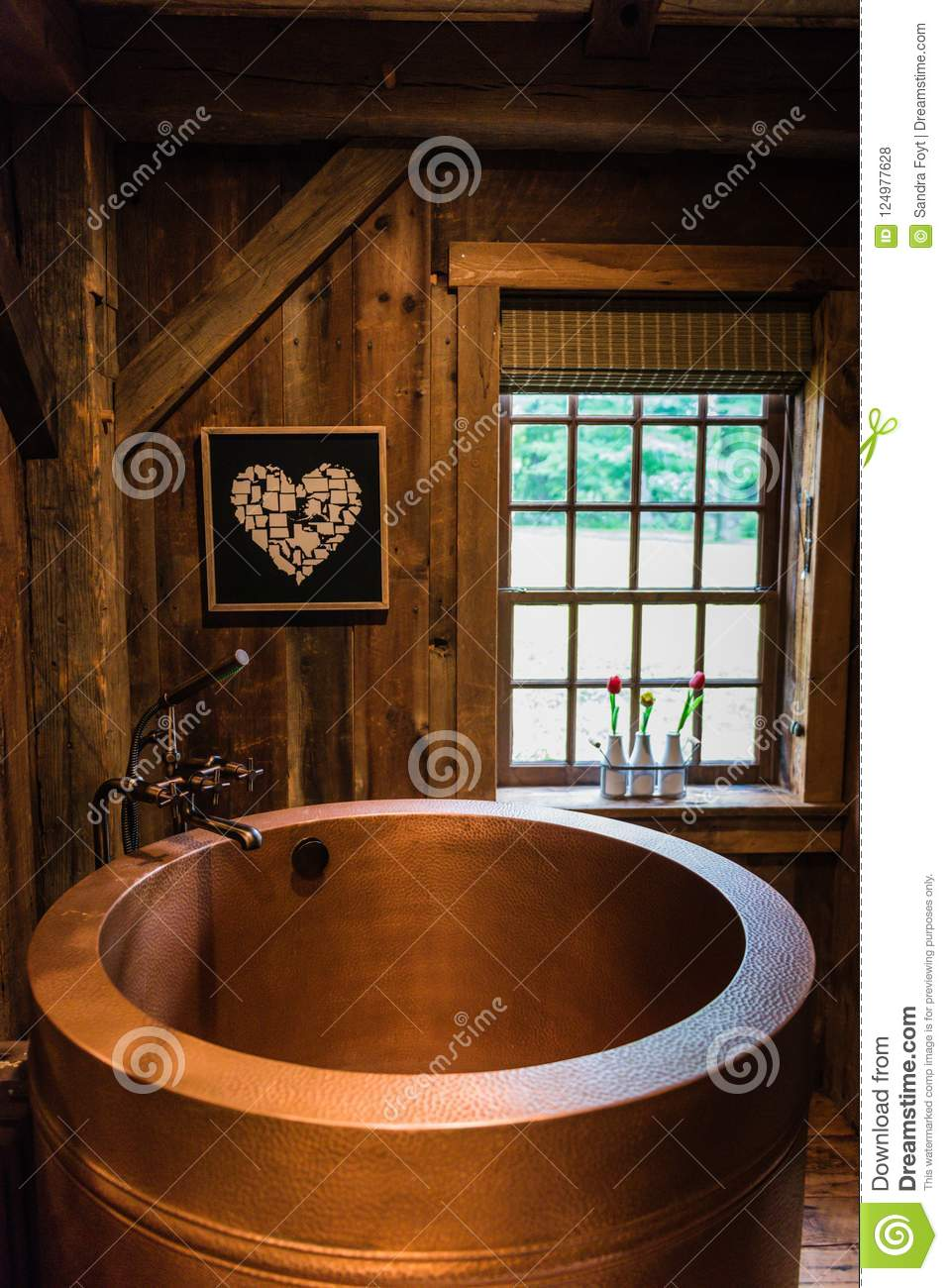 Rustic Copper Japanese Soaking Tub Editorial Stock Photo - Image of ...