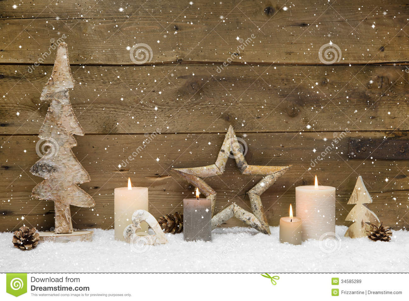Rustic country background - wood - with white candles and snowflakes ...