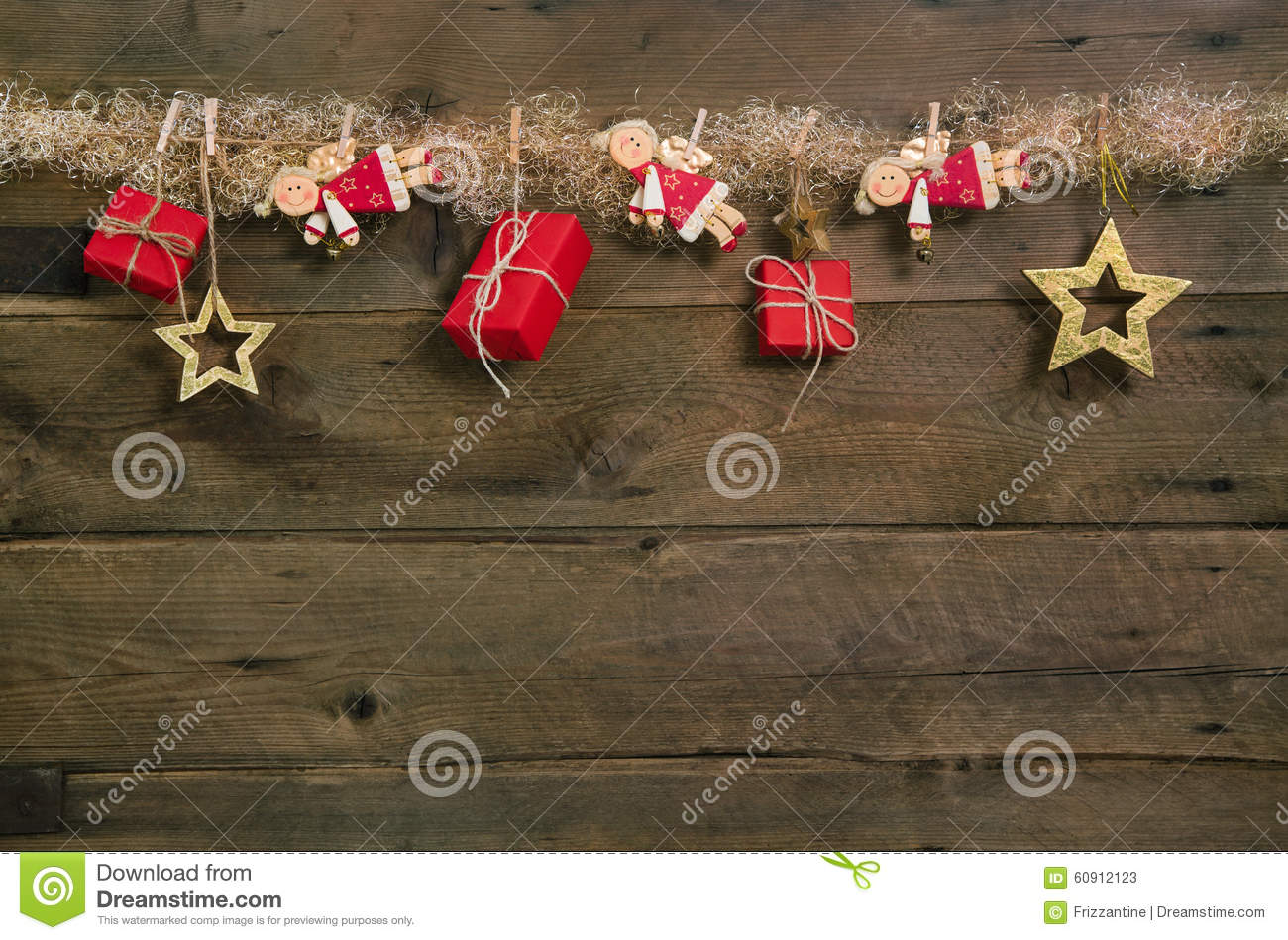 Rustic country style christmas background with red gift for Country chic christmas