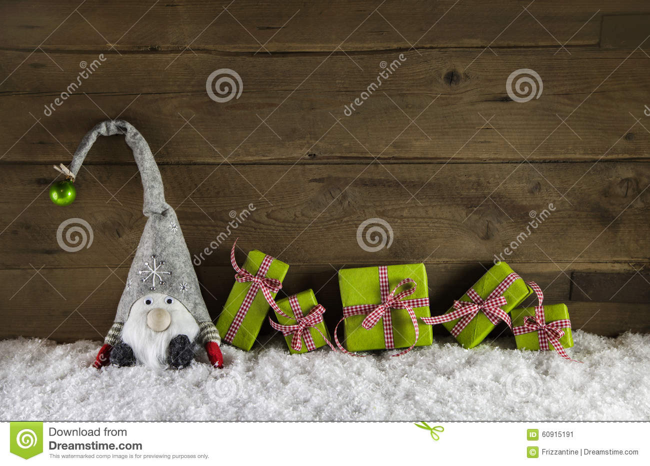 rustic country style wooden christmas background with gift