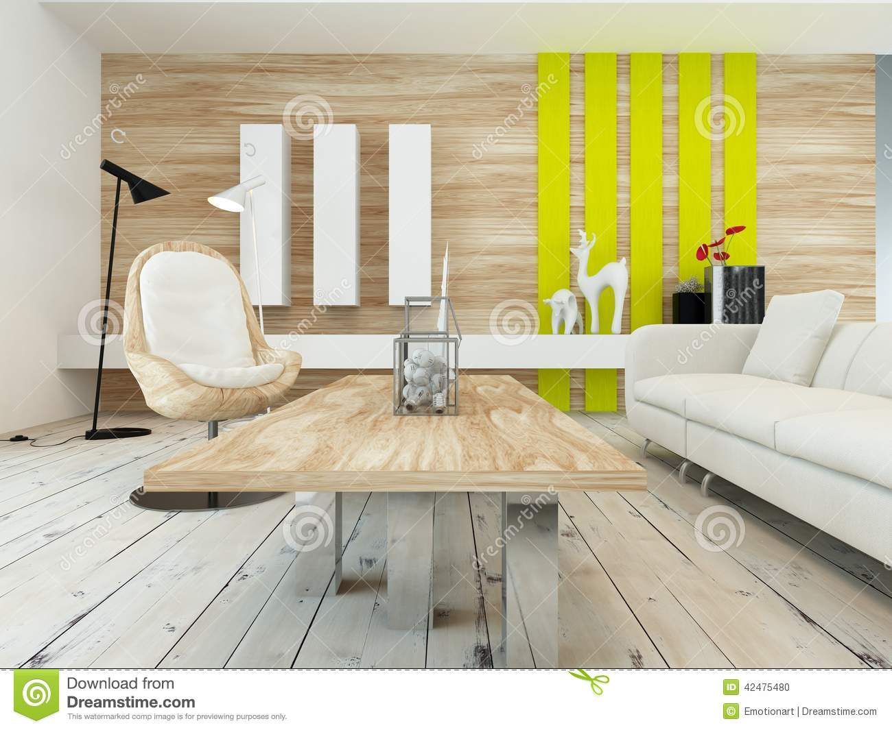rustic decor in a modern living room stock illustration