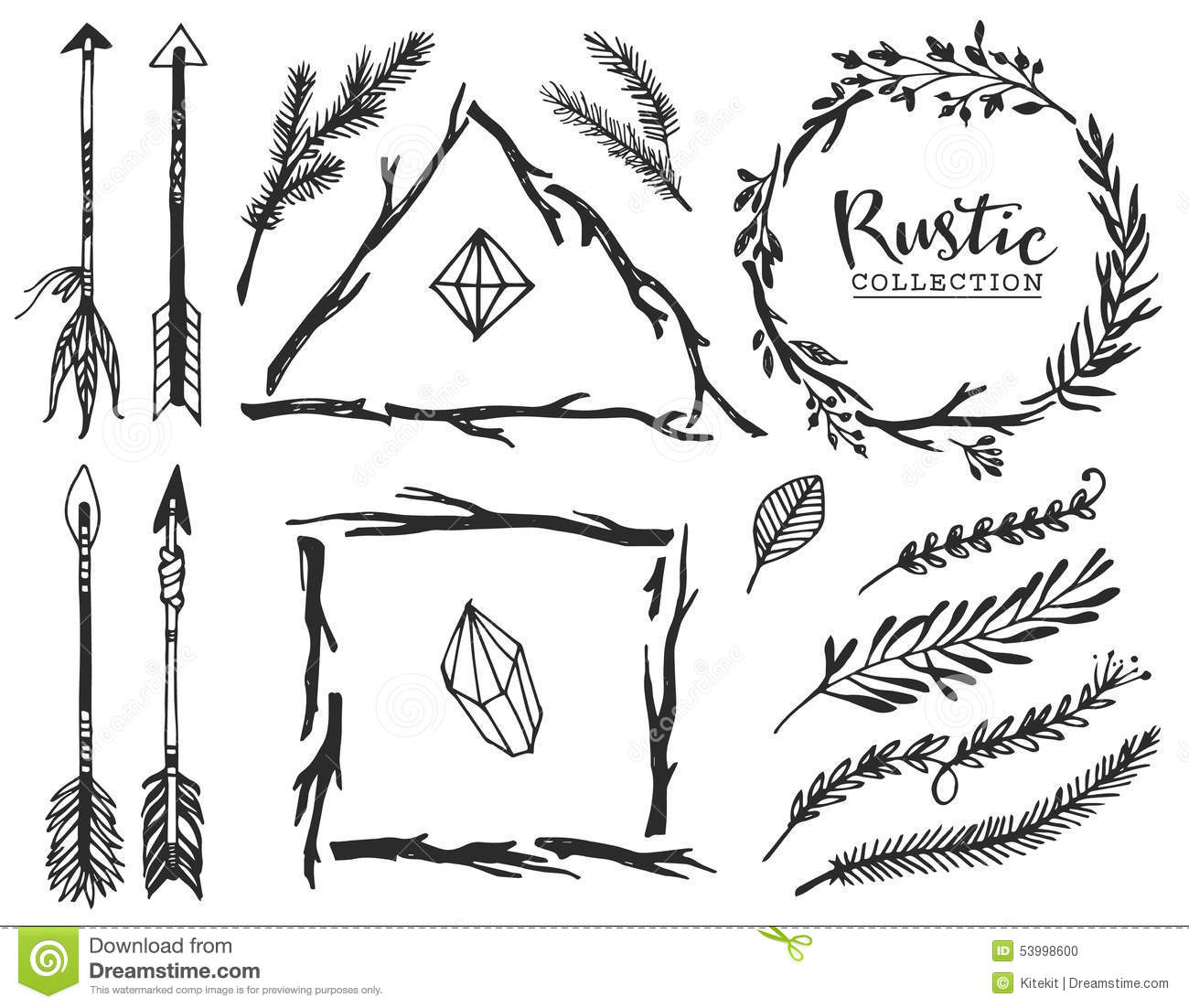 Rustic Decorative Elements With Arrow And Lettering