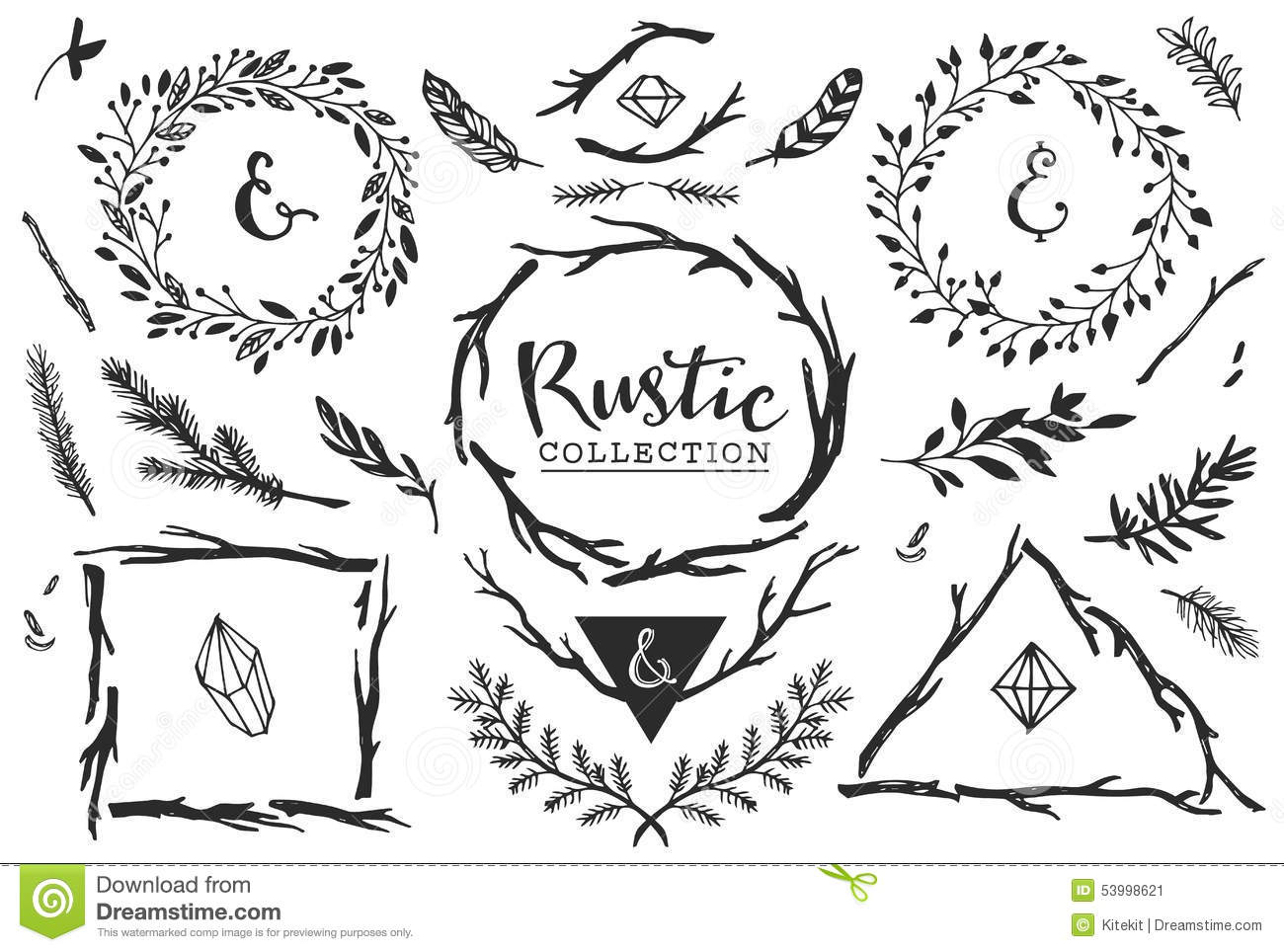 rustic decorative elements with lettering hand drawn vintage