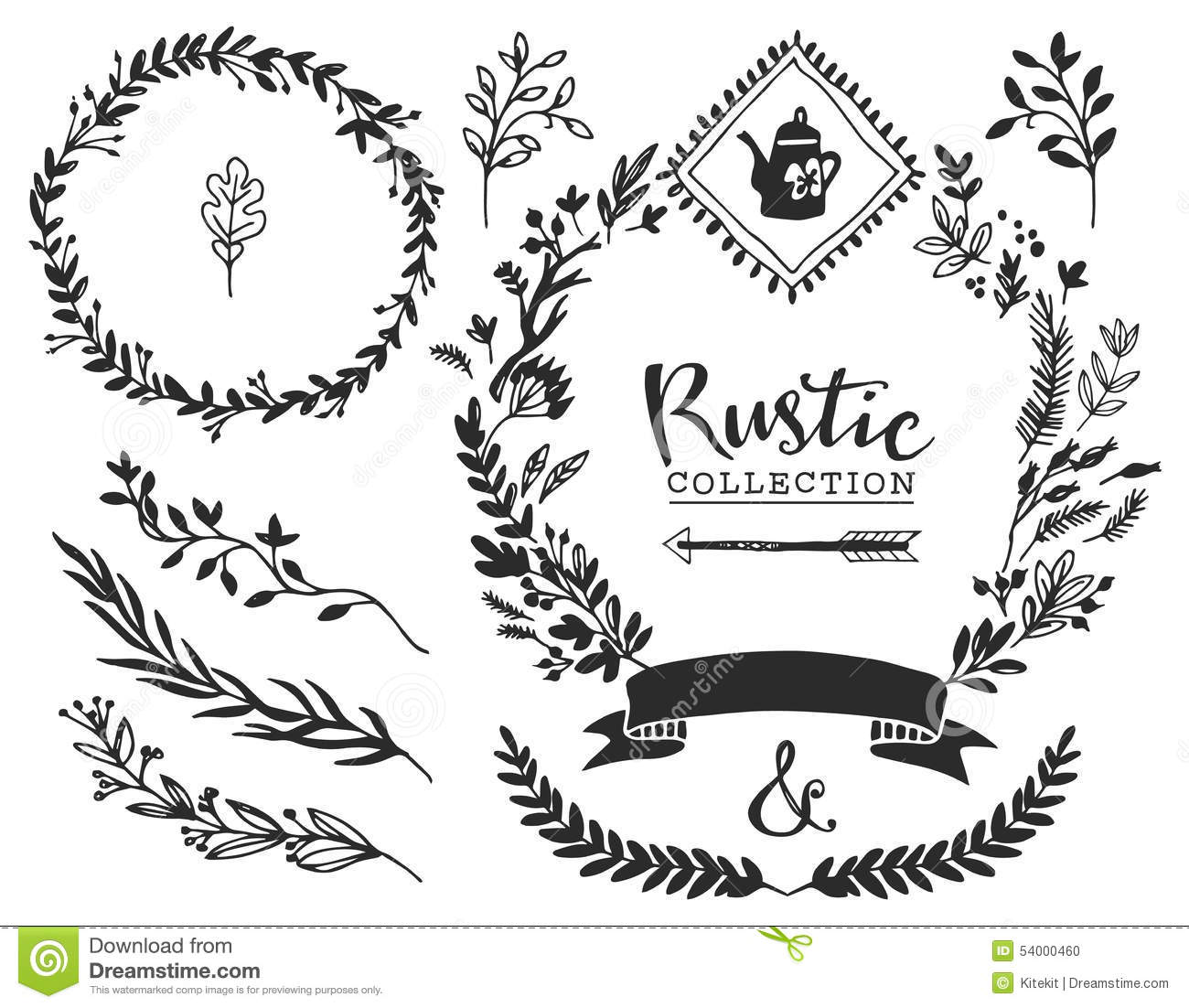 Download Rustic Decorative Elements With Lettering Hand Drawn Vintage Stock Vector