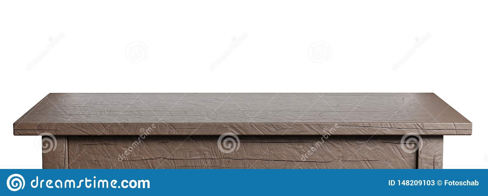 Rustic, empty table isolated on white. Clipping path included. Suitable for product display. 3D render image.