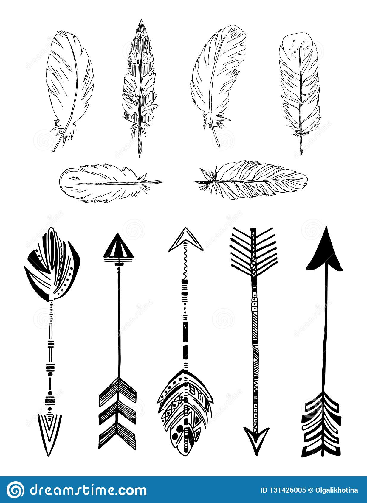 Rustic Ethnic Boho Style Feathers And Arrows Vintage Vector Set Stock Vector Illustration Of Graphic Arrow 131426005