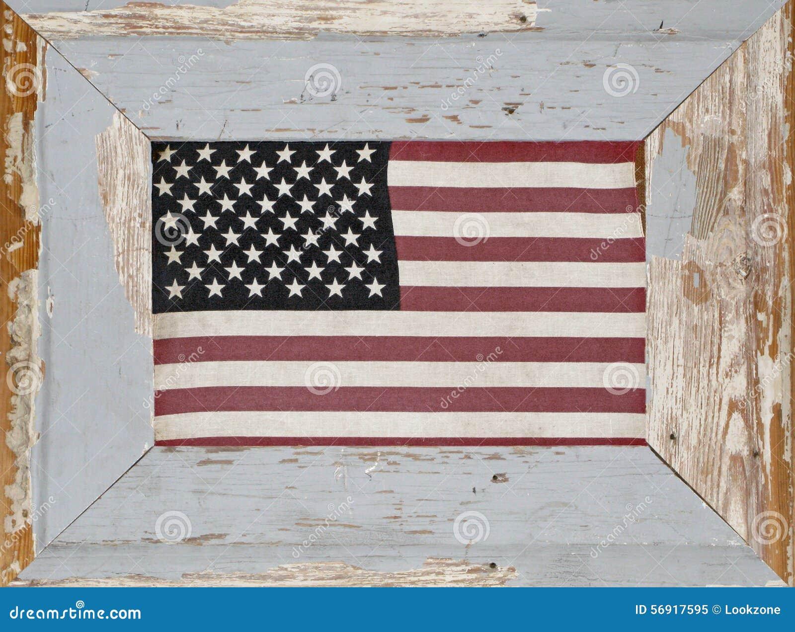 A Rustic Framed Vintage American Flag Stock Image Image