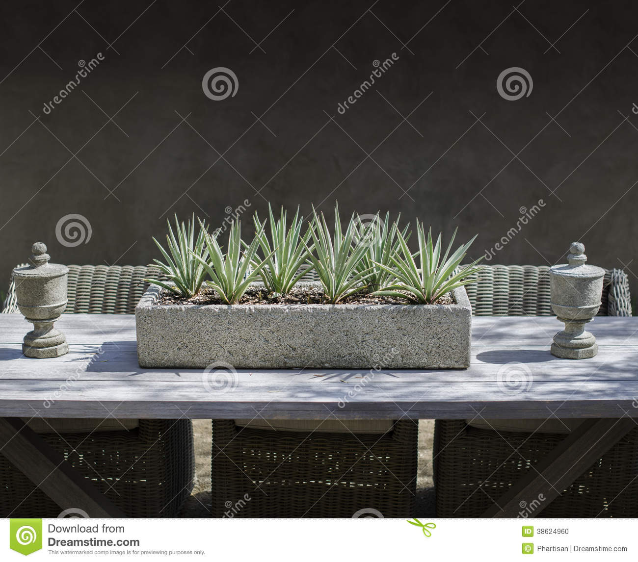 Rustic Garden Dining Table Display Furniture Stock Photo