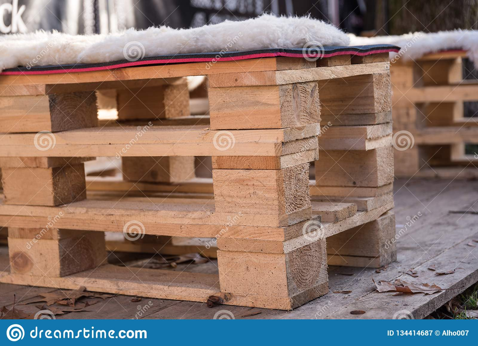 Rustic Garden Furniture Made Of Wooden Pallets Stock Image ...