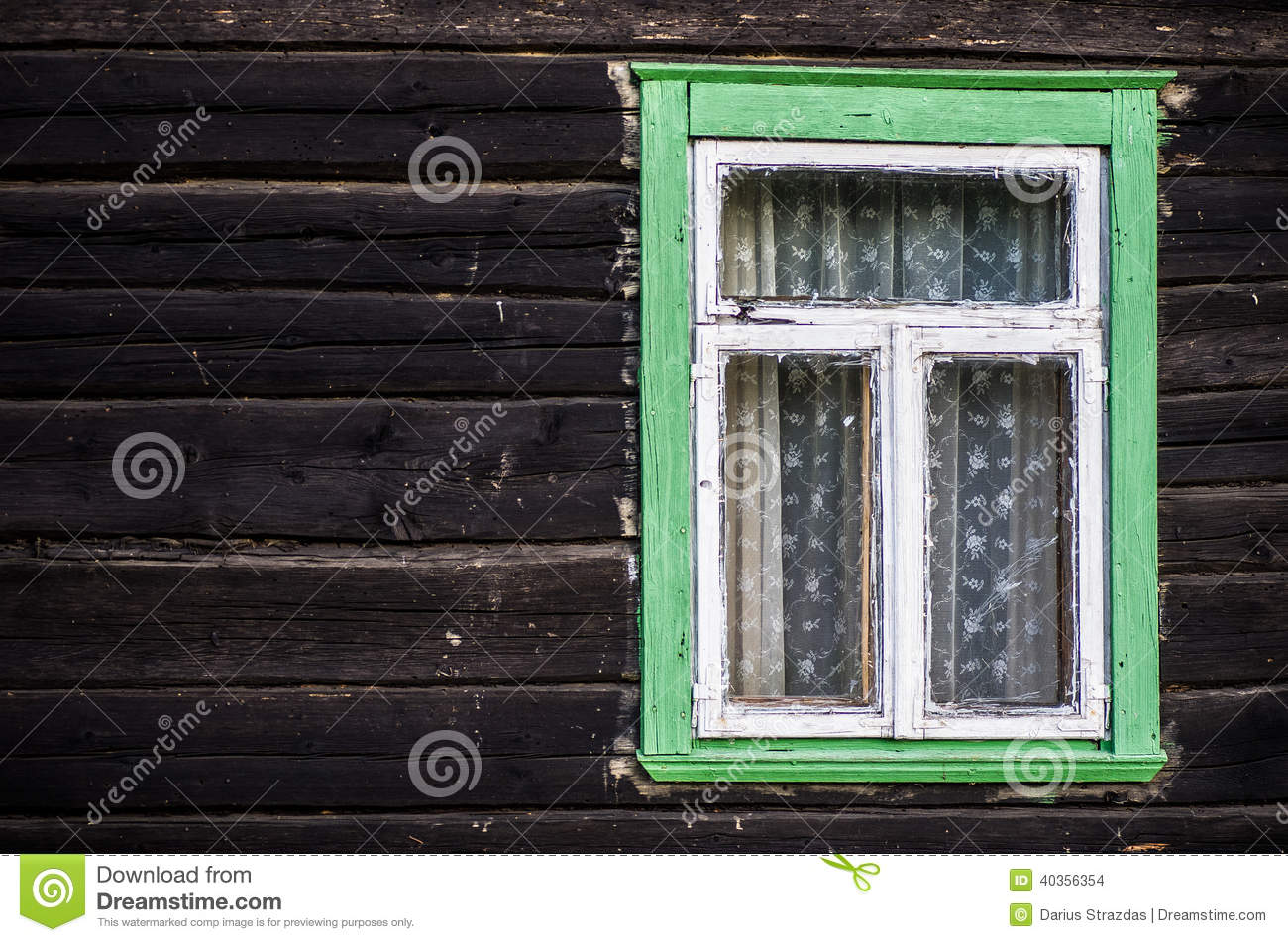 Rustic Green Painted Wood Frame Window Stock Photo Image
