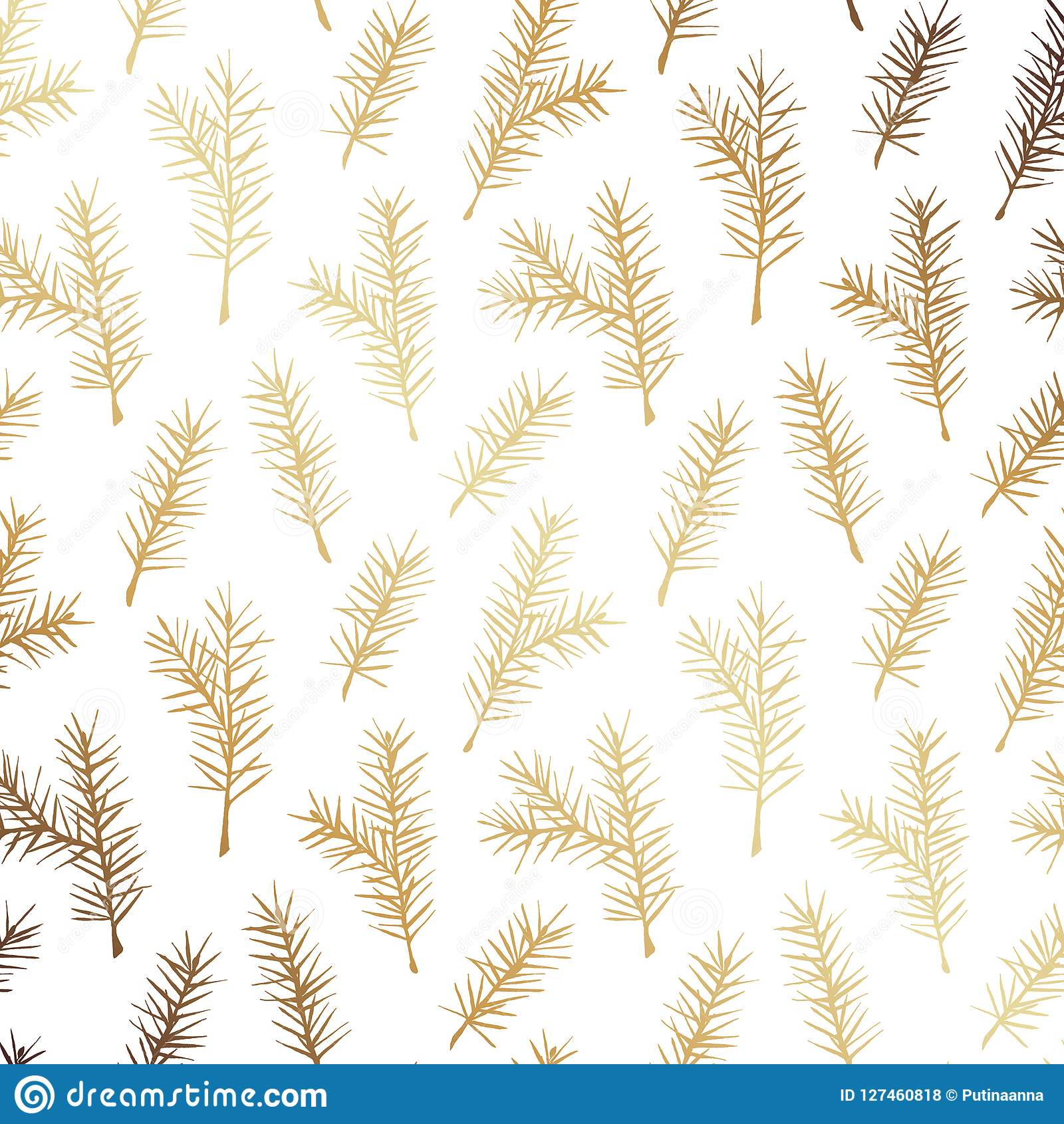 Christmas Greenery Vector.Rustic Hand Drawn Gold Fir Tree Vector Seamless Pattern