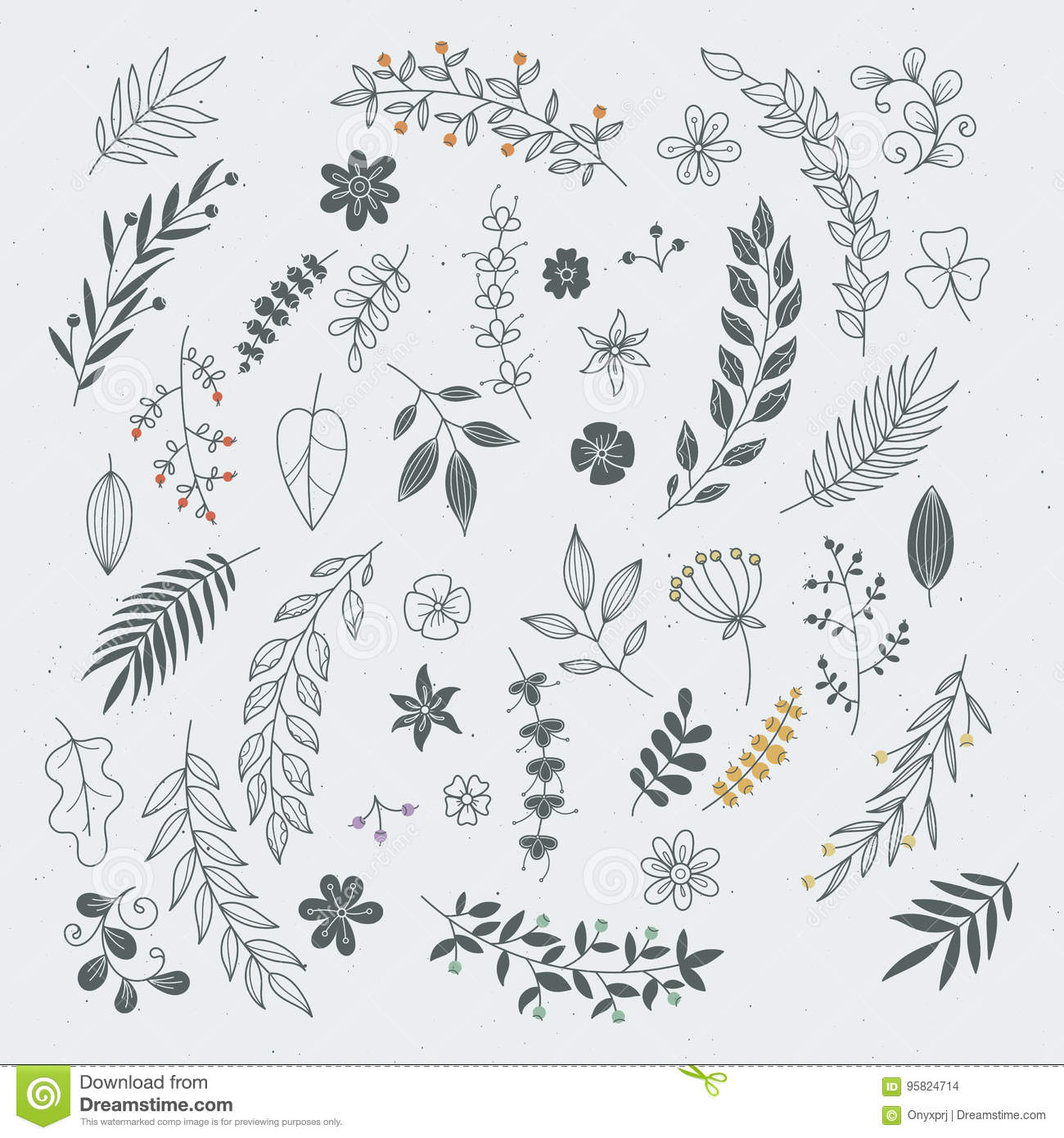 Download Rustic Hand Drawn Ornaments With Branches And Leaves Vector Floral Frames Borders Stock