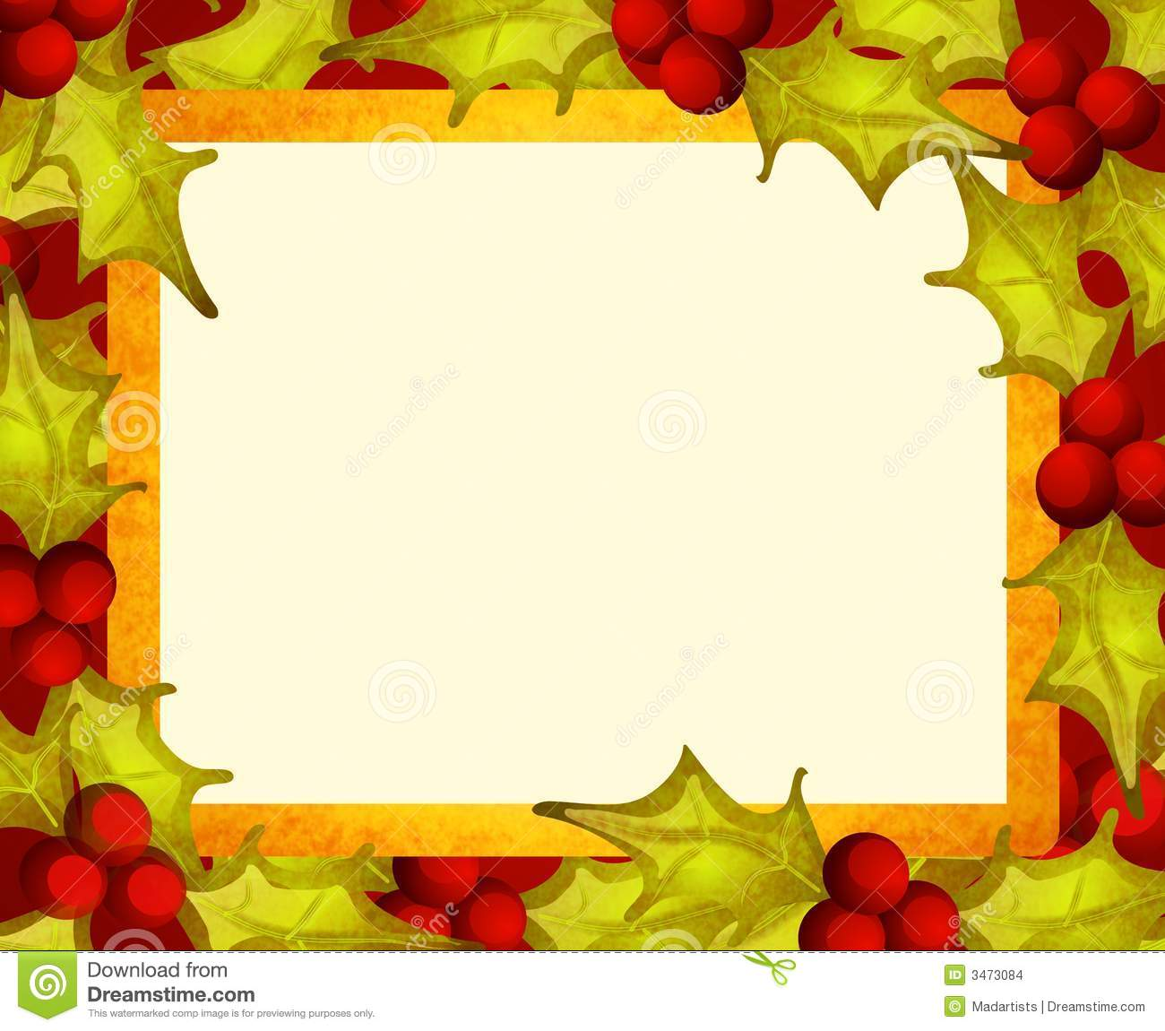 Rustic Holly Leaf Border Stock Images Image 3473084