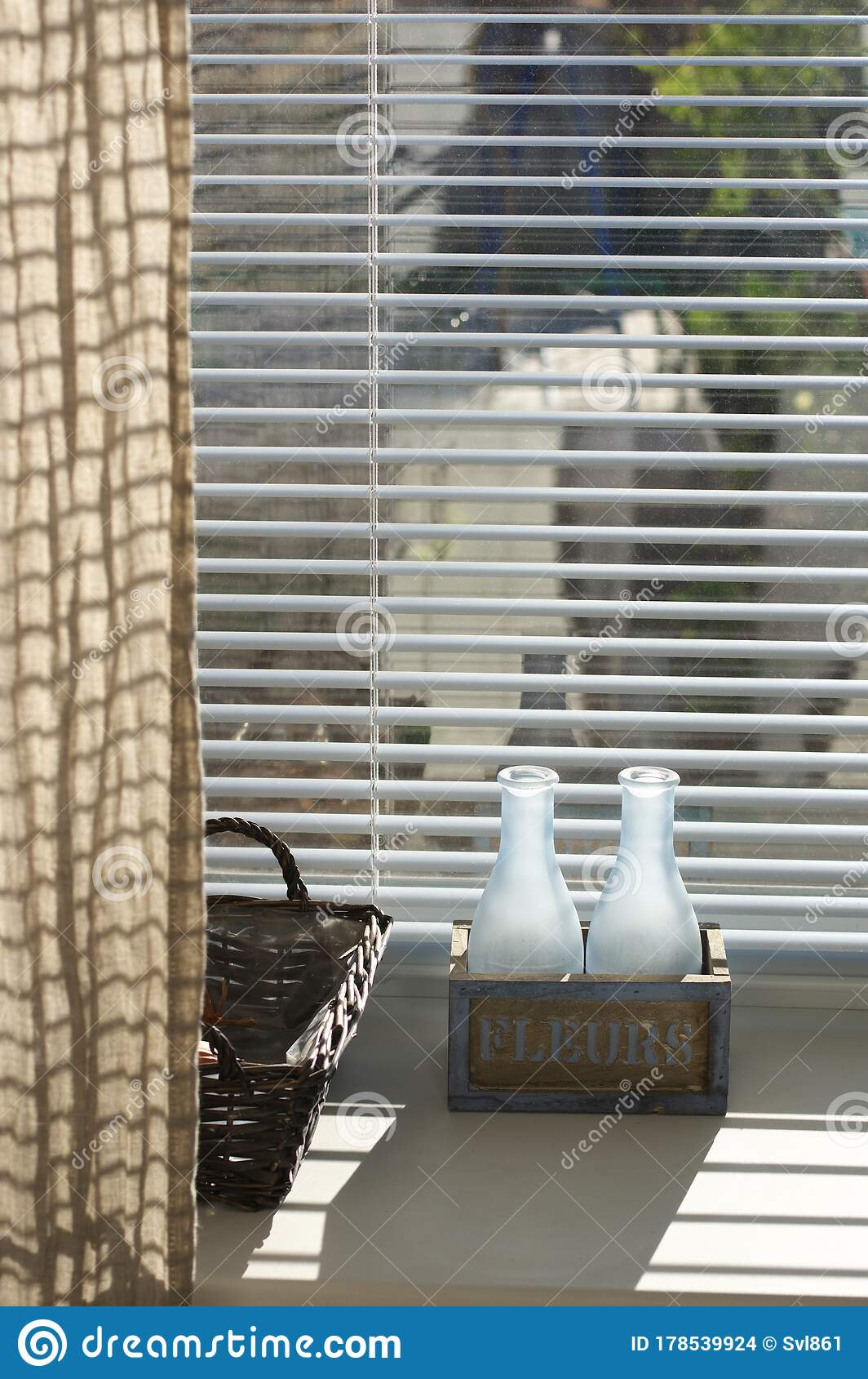 Rustic Home Decor On Window With Blinds Stock Photo - Image of