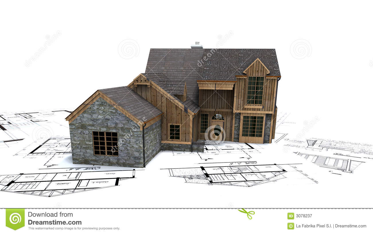 Rustic House On Blueprints Royalty Free Stock Photography - Image ...