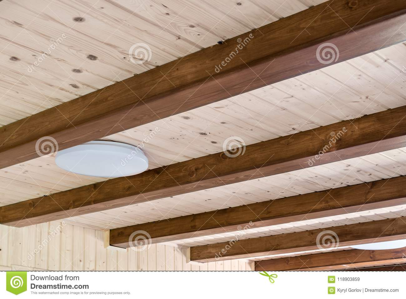 Rustic House Ceiling With Wide Wooden Beam Support. Country Home ...