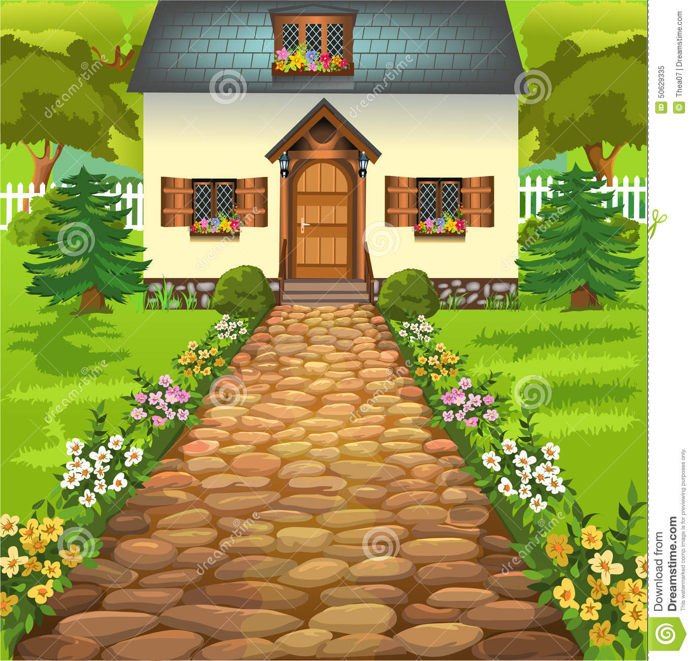 Rustic House In The Middle Of Nature Stock Vector