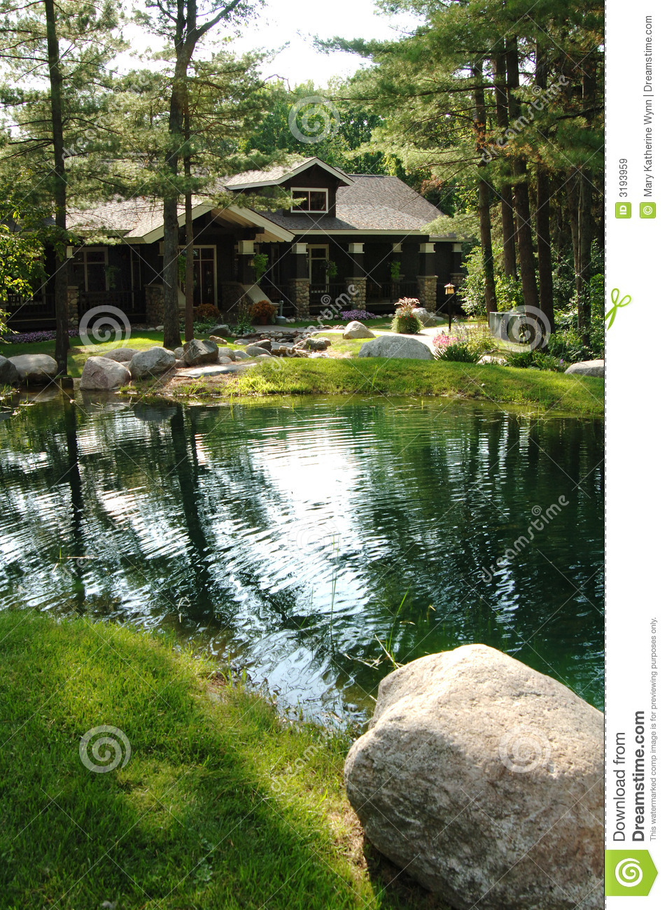 Rustic House By Pond Royalty Free Stock Images Image 3193959