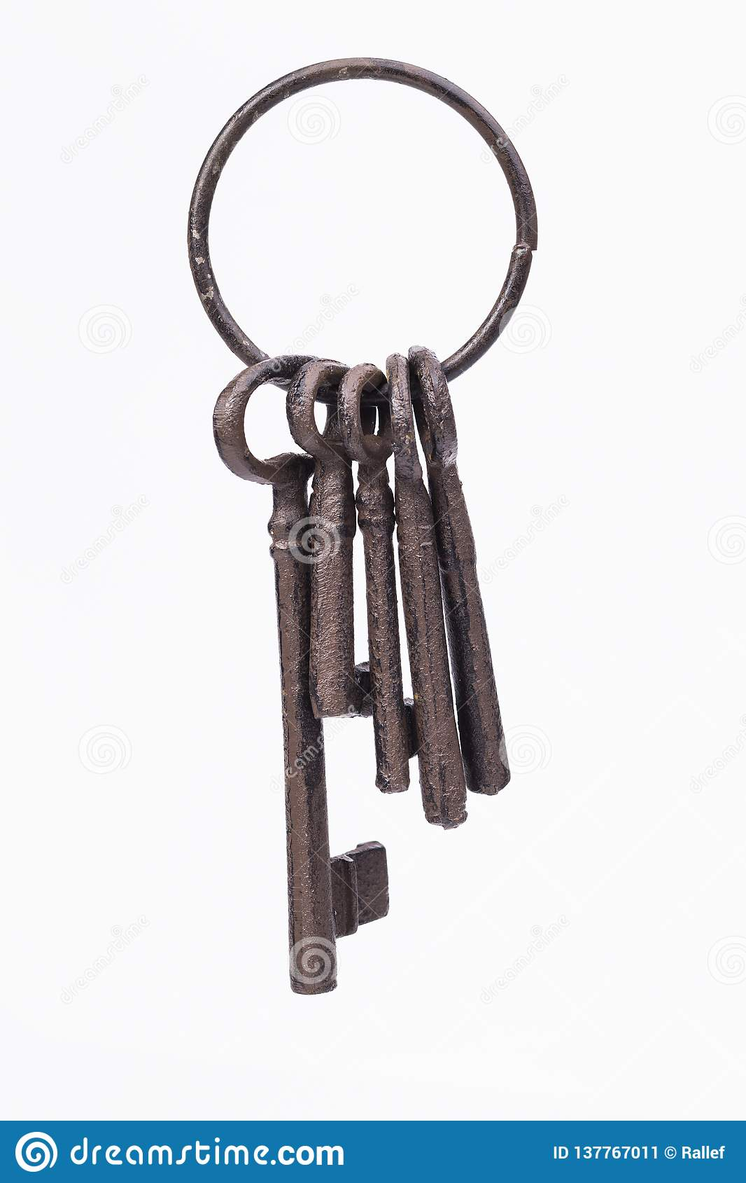 Rustic key ring isolated on white
