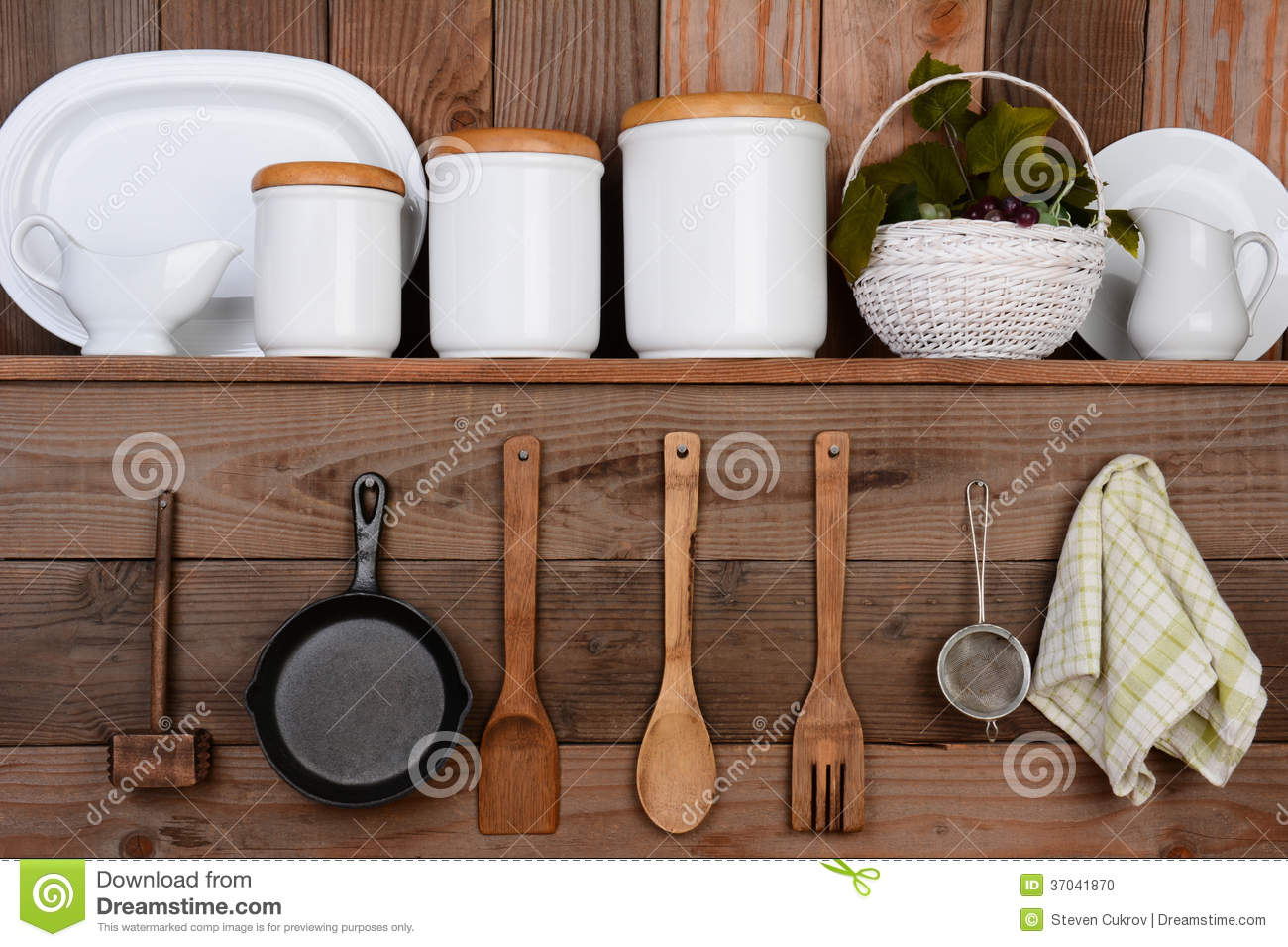 White Canisters For Kitchen Rustic Kitchen Stock Photo Image 37041870