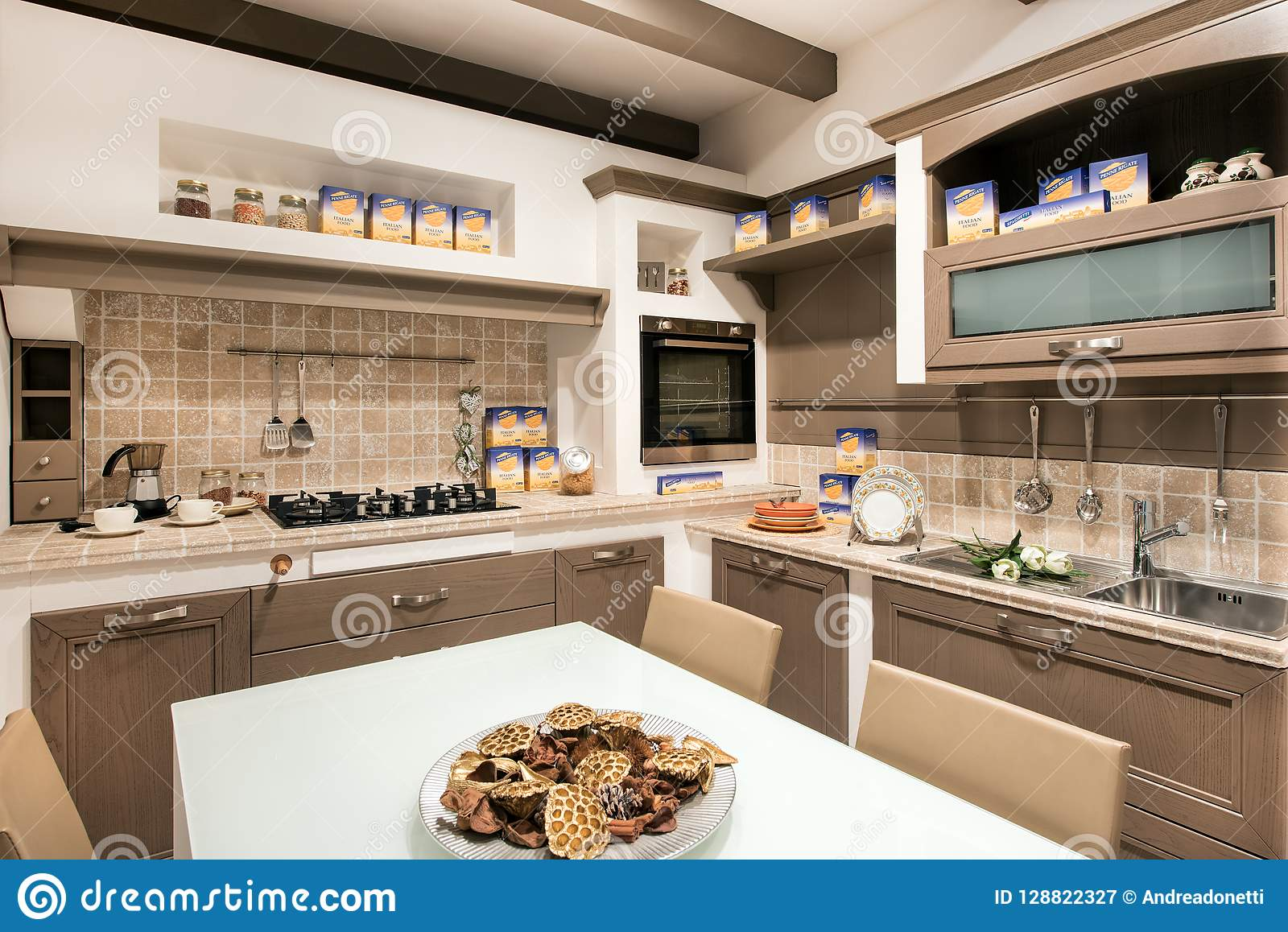 Rustic Or Kitchen Interior With Cooking Supplies Stock Image