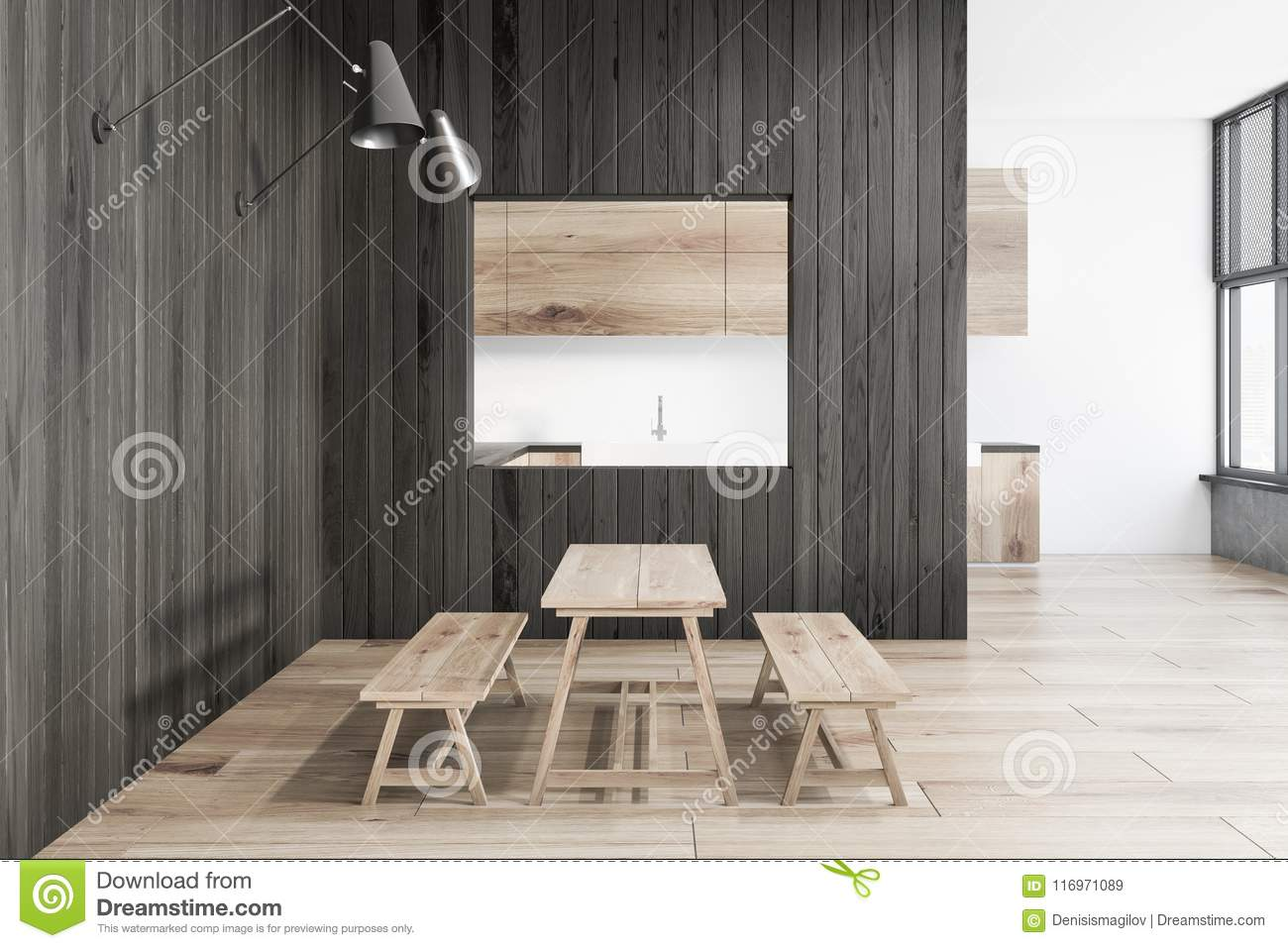 Phenomenal Rustic Dark Wooden Kitchen Interior Stock Illustration Pabps2019 Chair Design Images Pabps2019Com