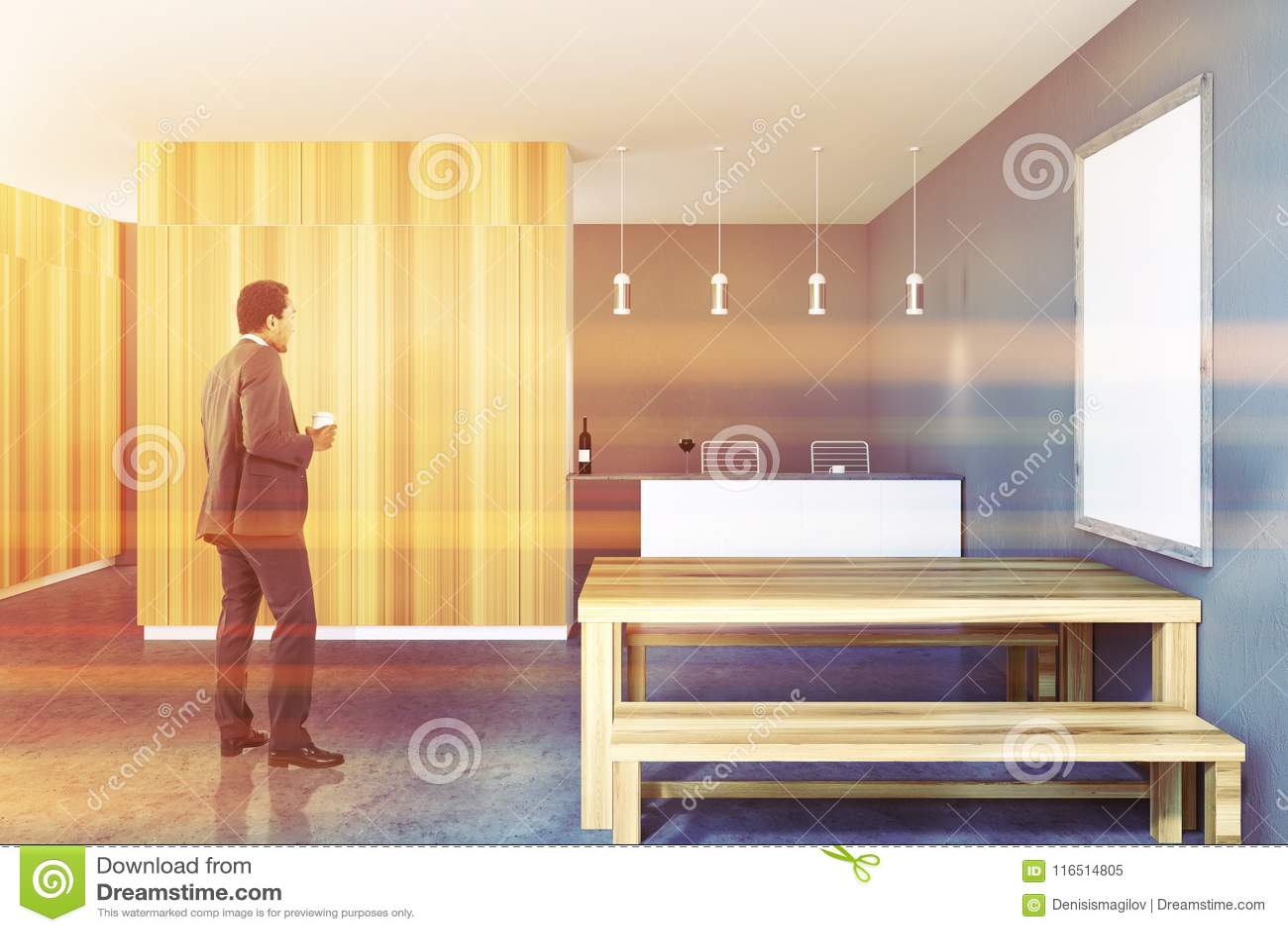 Rustic Kitchen Interior, Frame Poster, Businessman Stock Image ...