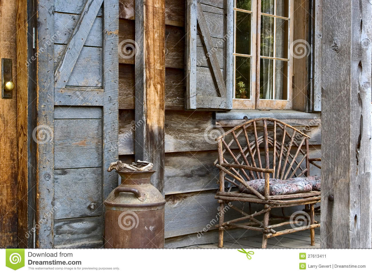 Rustic lodge front porch stock image image 27613411