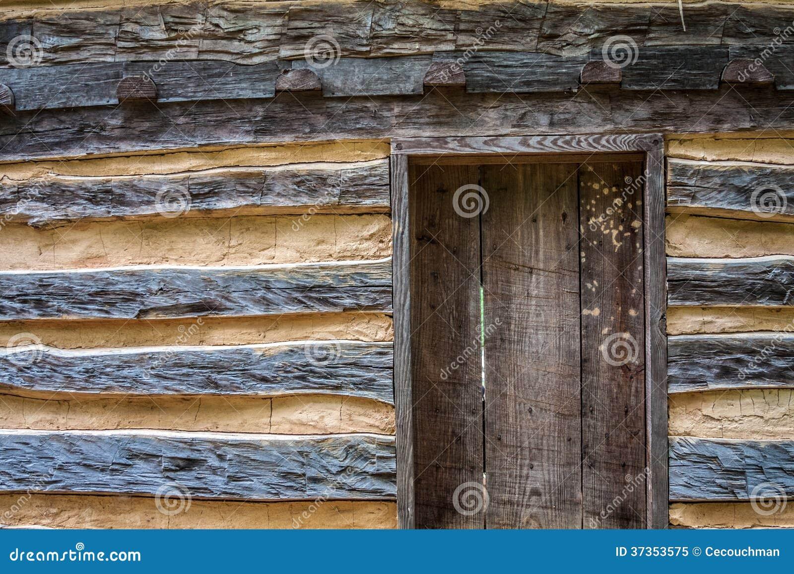 Rustic Log Cabin With Door Stock Image Image Of Cabin