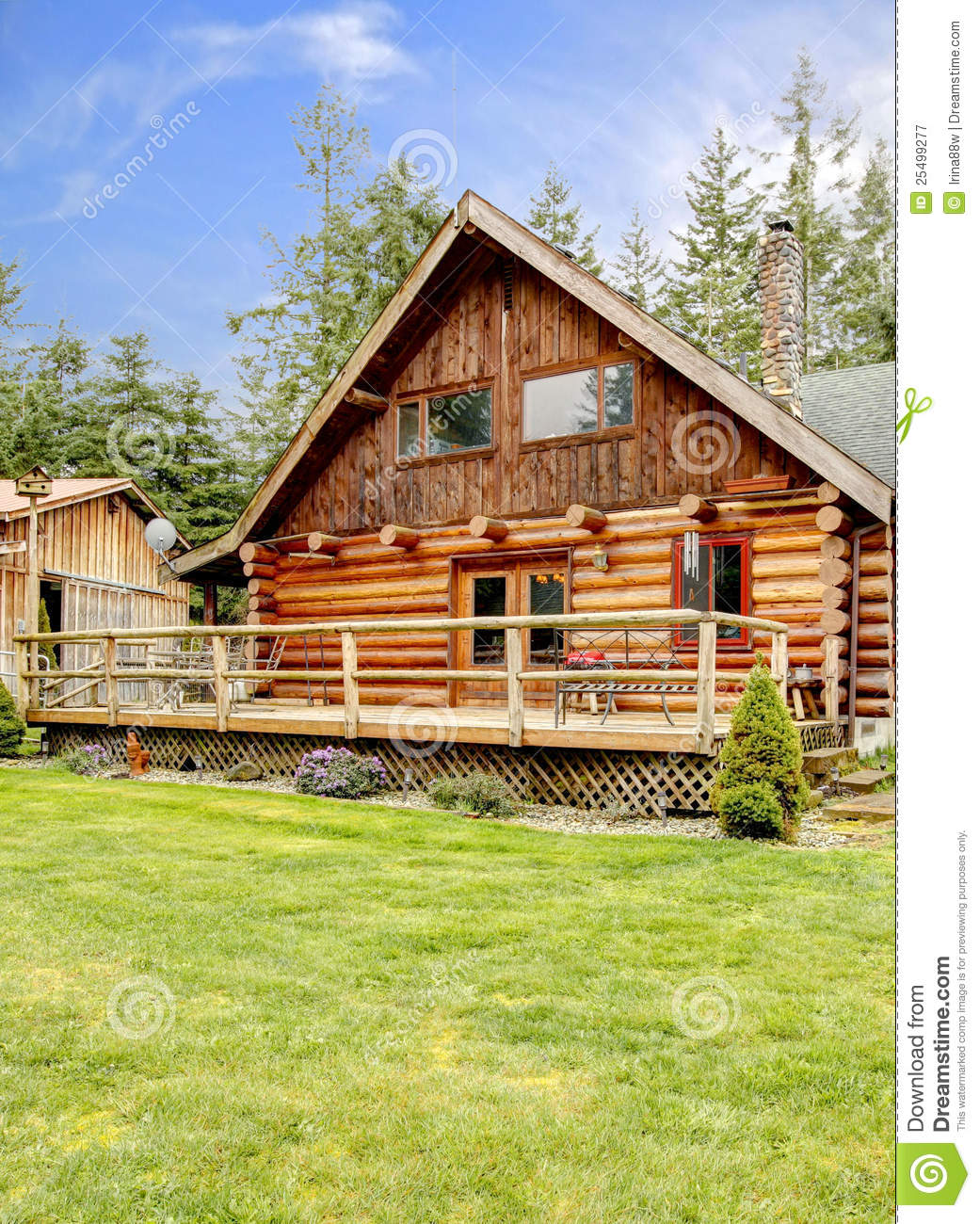 Rustic log small cabin deck exterior royalty free stock for Log home decks