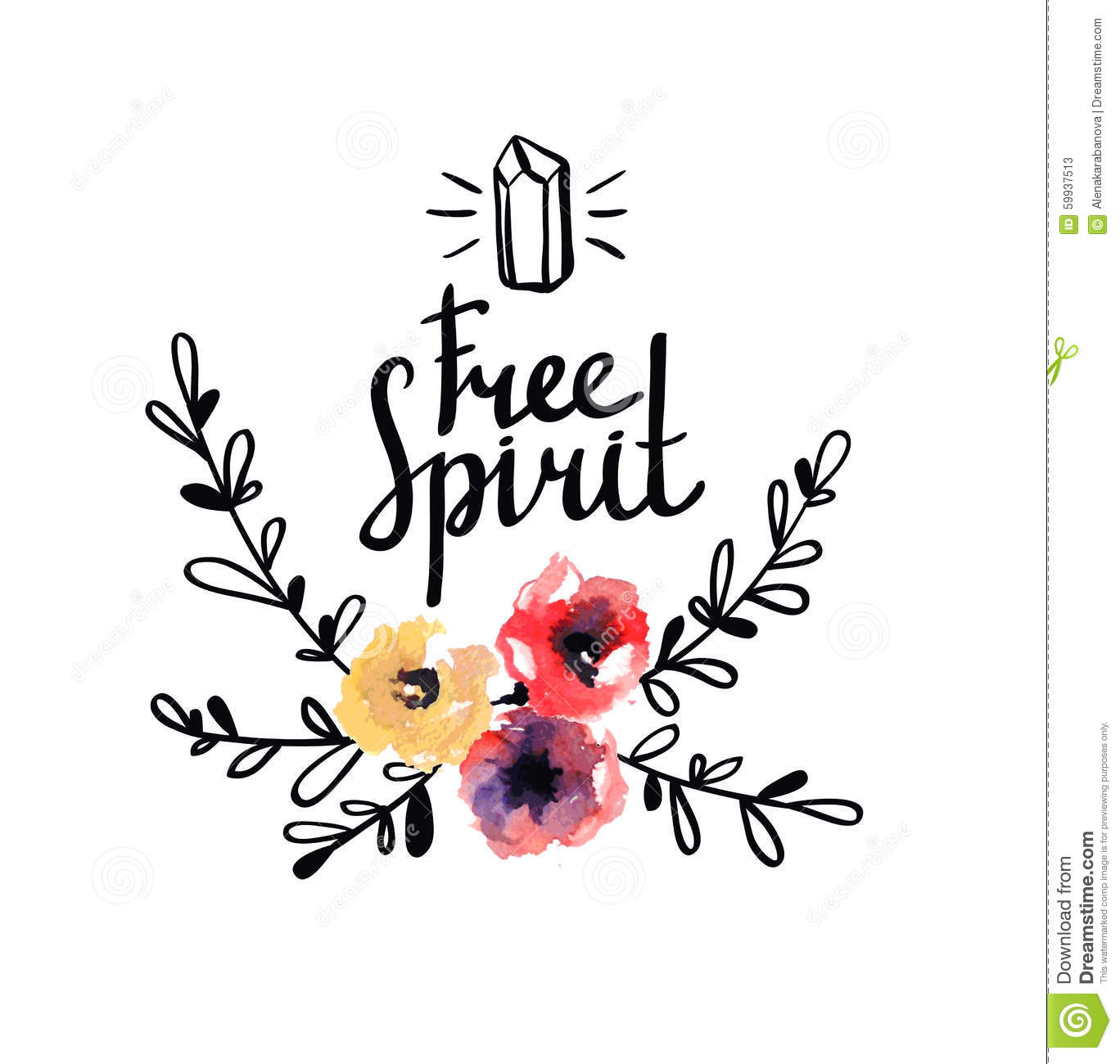 Rustic Logo Template With Watercolor Flowers And Branches