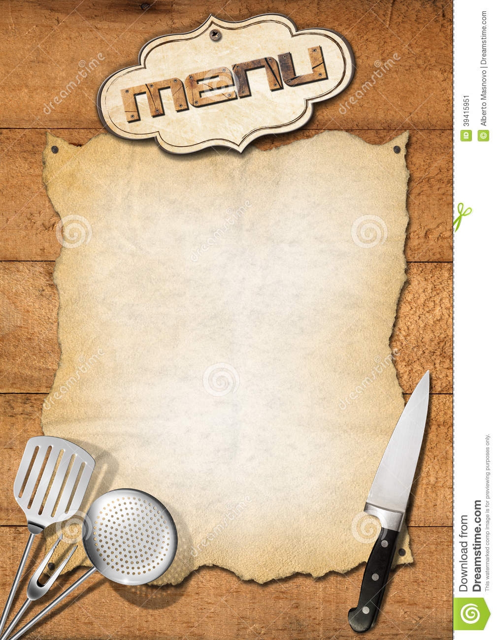 Rustic Menu Template Stock Illustration Image 39415951