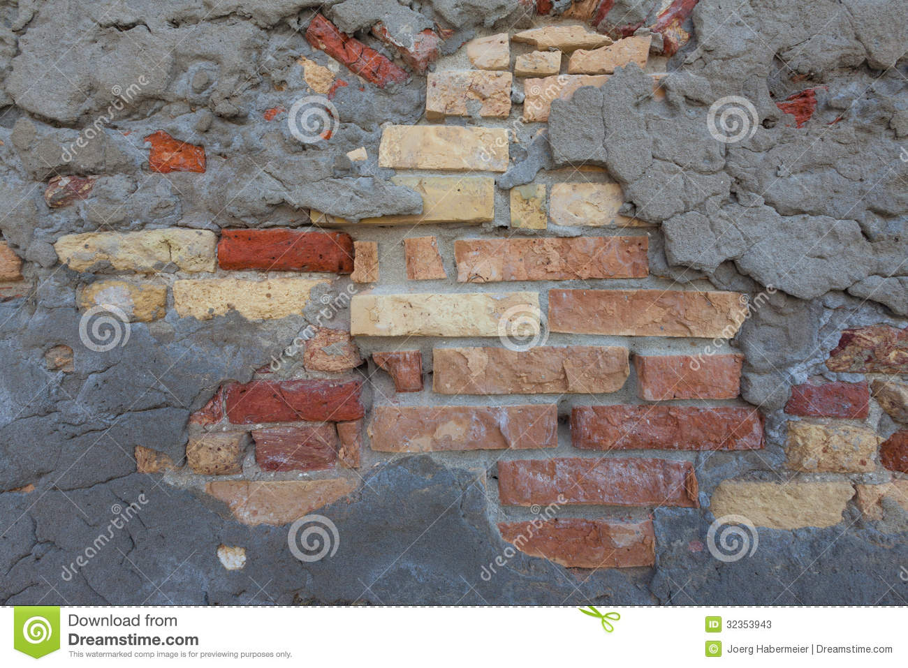 Rustic mixed brick wall and concrete patch pattern for Mixing brick and stone exterior