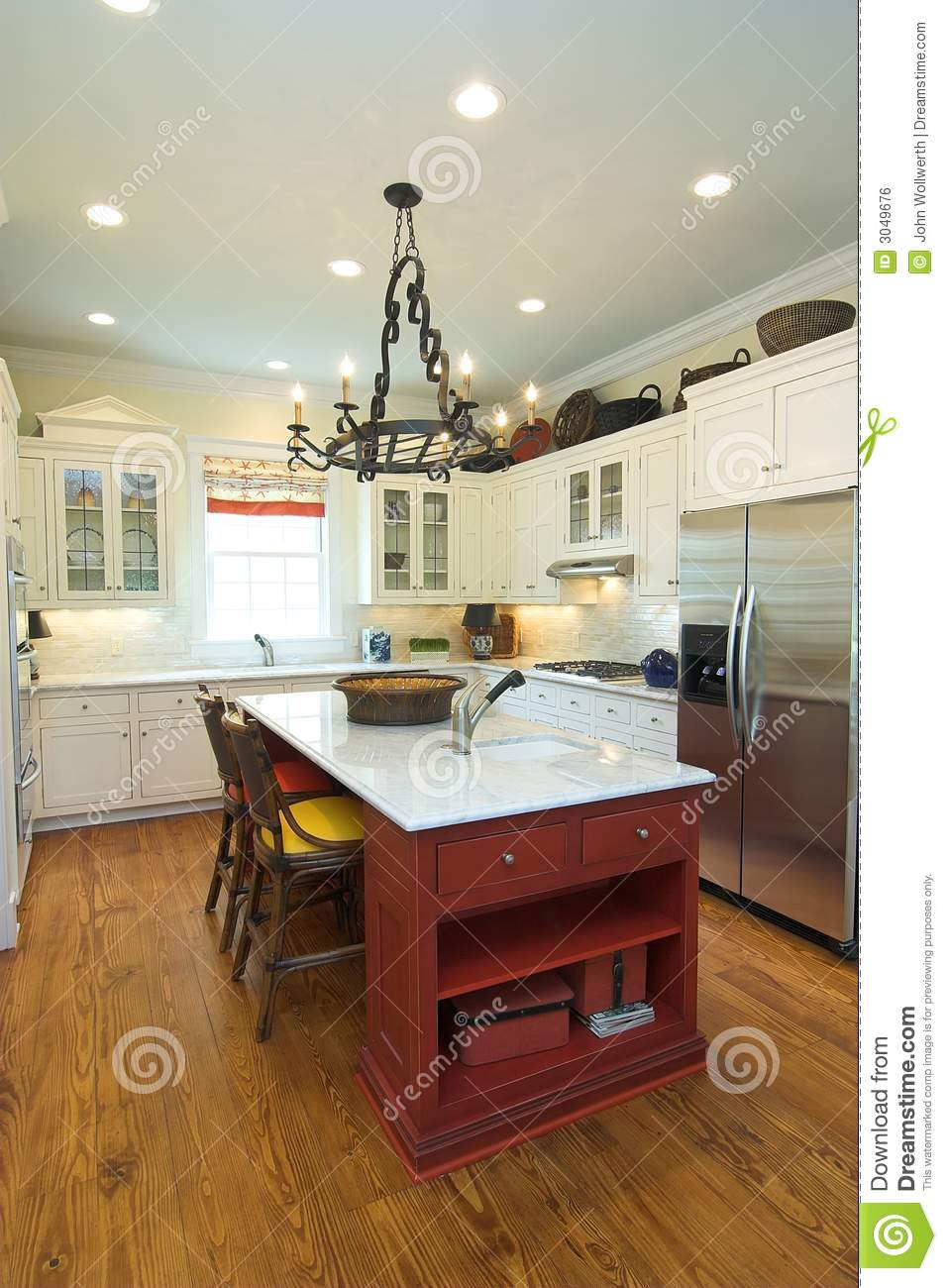 Rustic Modern Kitchen Stock Photo Image Of White Island