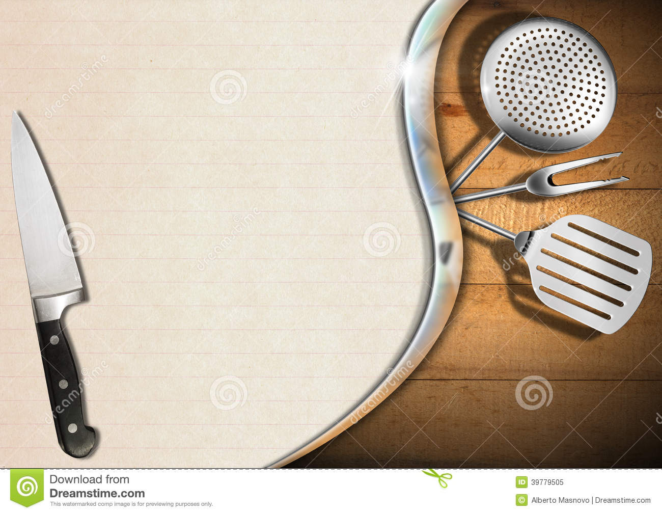 Wooden Background With Kitchen Utensils Metal Wave And Empty Sheet Of