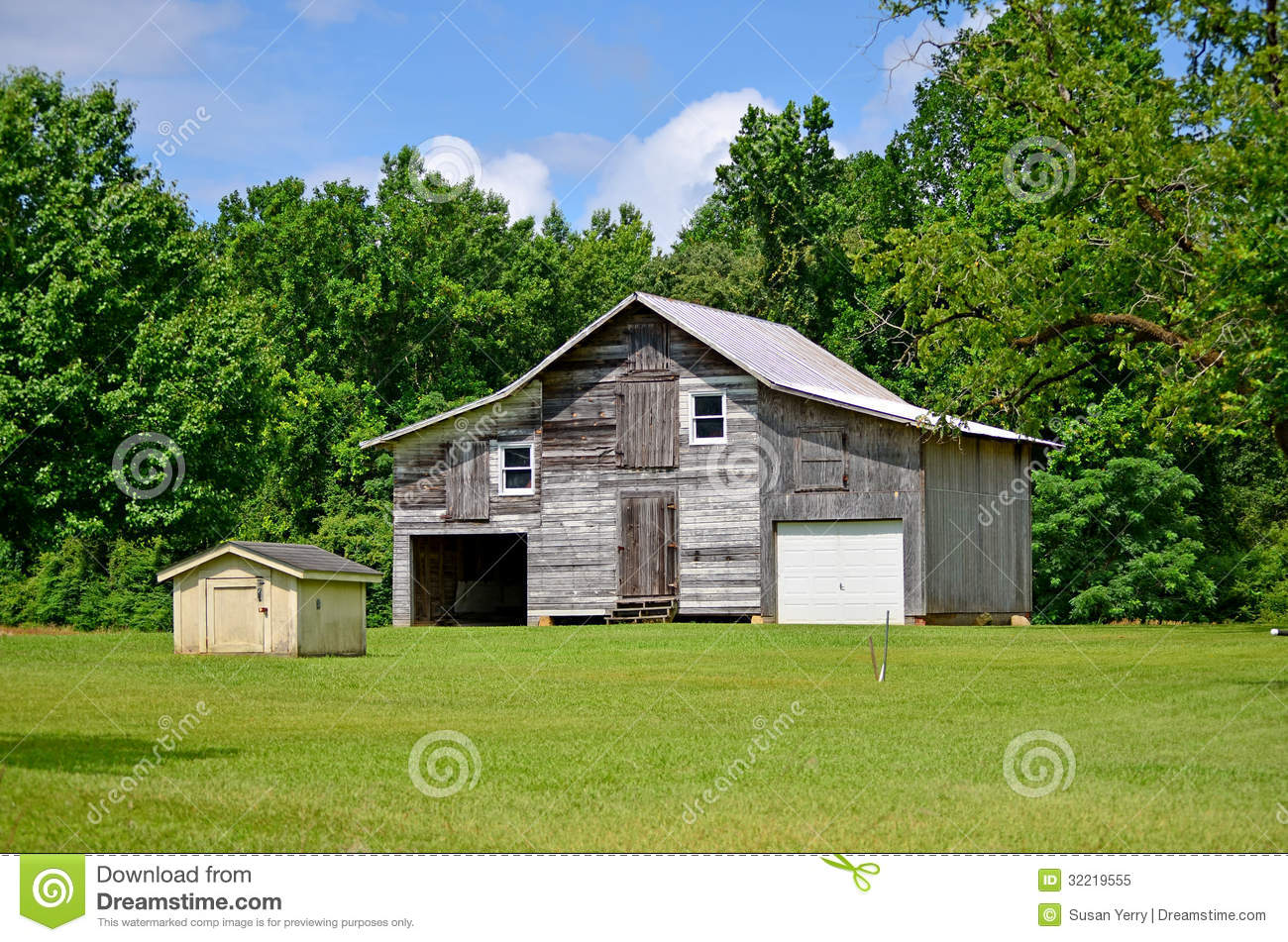 rustic old barn shed garage and pump house royalty free stock