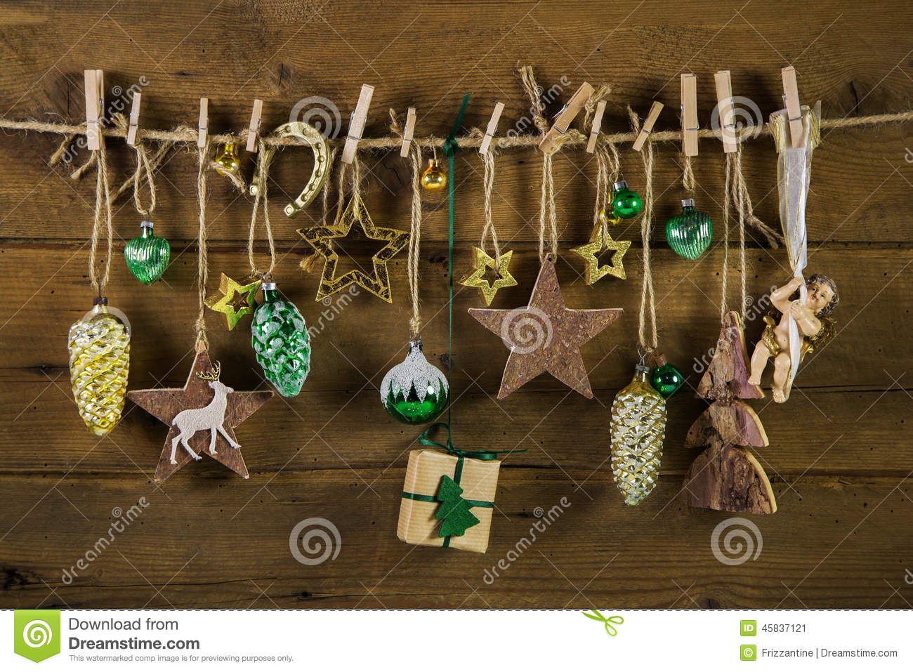 Rustic Old Christmas Decoration On Wood Gold And Brown Colors Stock Image
