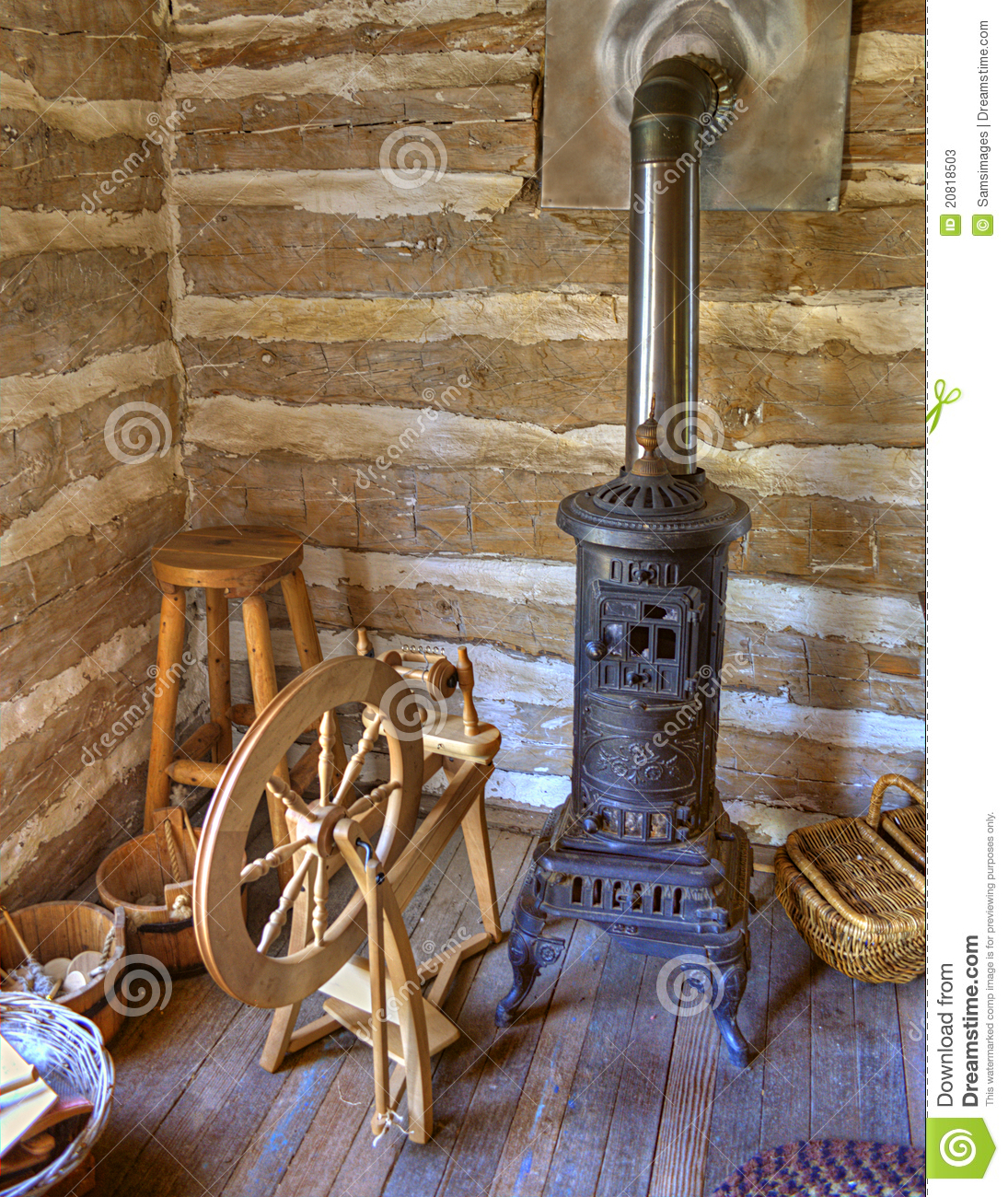 Rustic Old Time Log Cabin Spinning Room Stock Photos Image 20818503