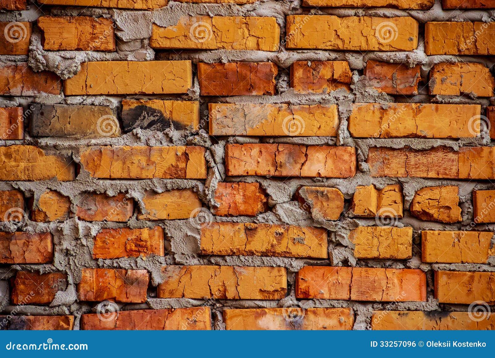 Rustic Orange Brick Wall Background Royalty Free Stock
