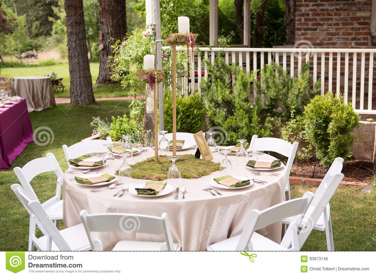 Rustic Outdoor Table Setting For Wedding Reception Stock Photo