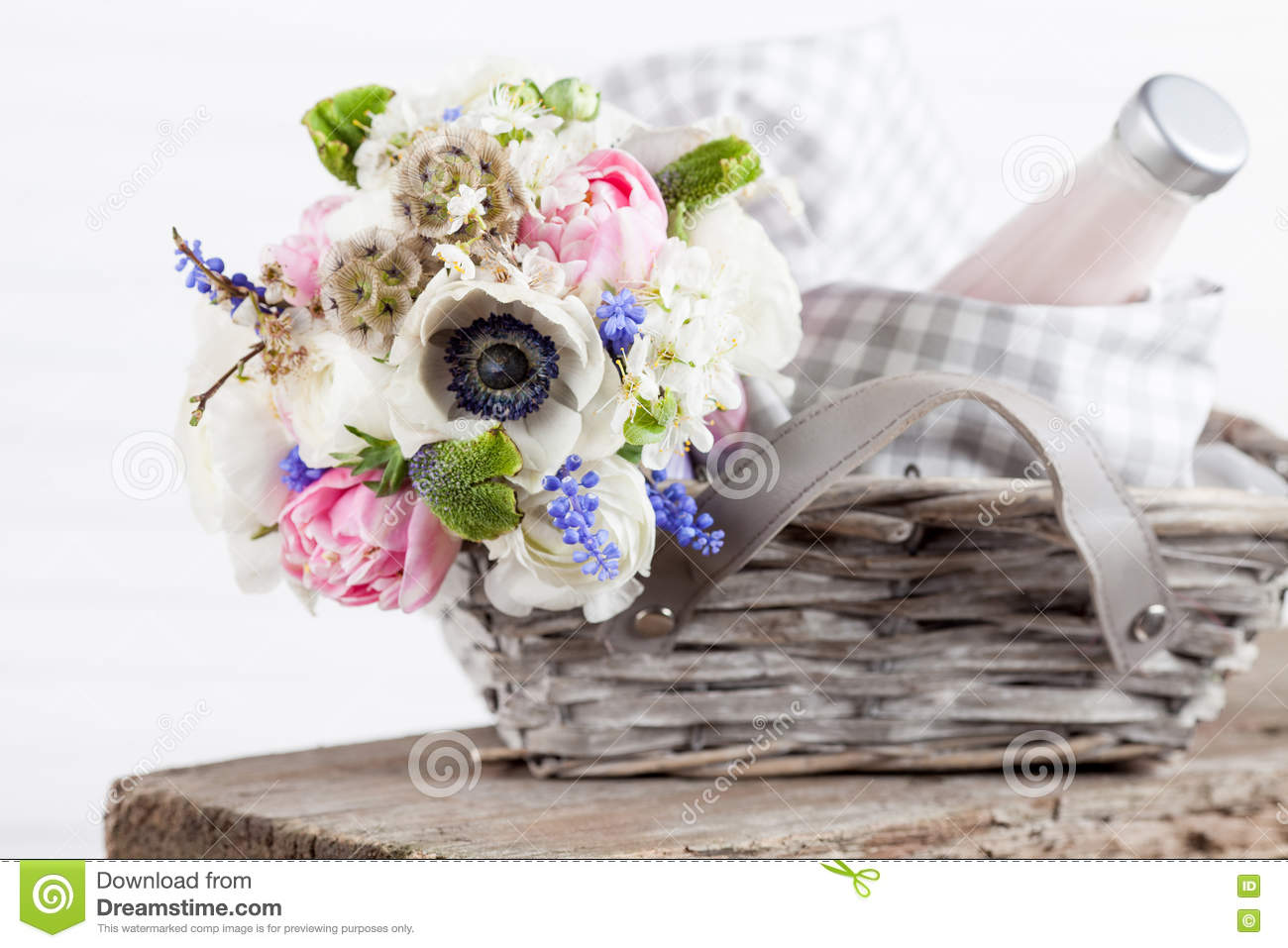 Rustic Picnic Basket With Flowers Stock Image Image Of Bunch Hyacinths 70315649
