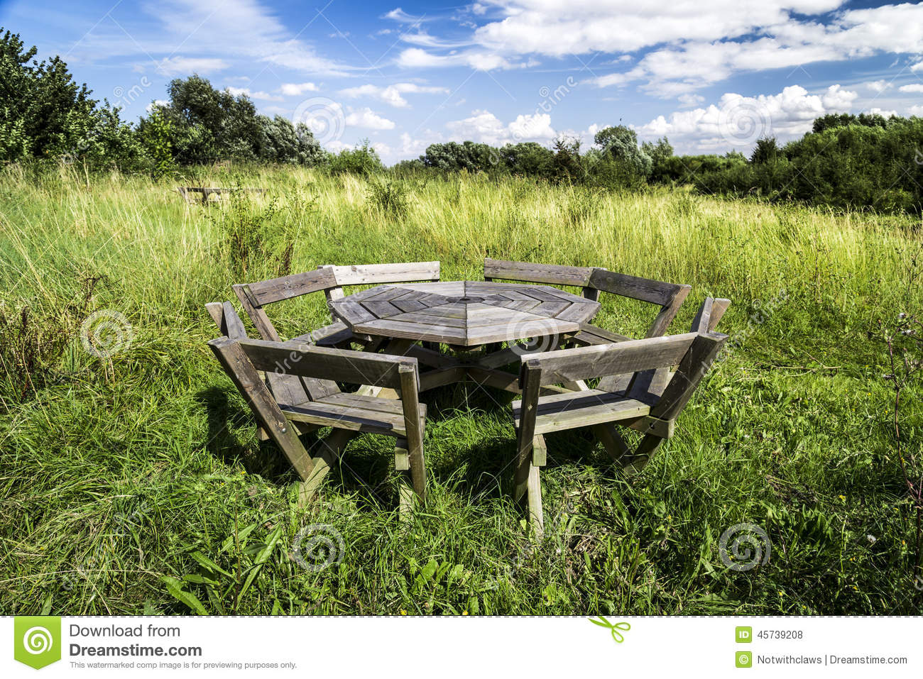 Rustic Picnic Bench In Uncultivated Meadow With Blue Sky Stock Photo ...