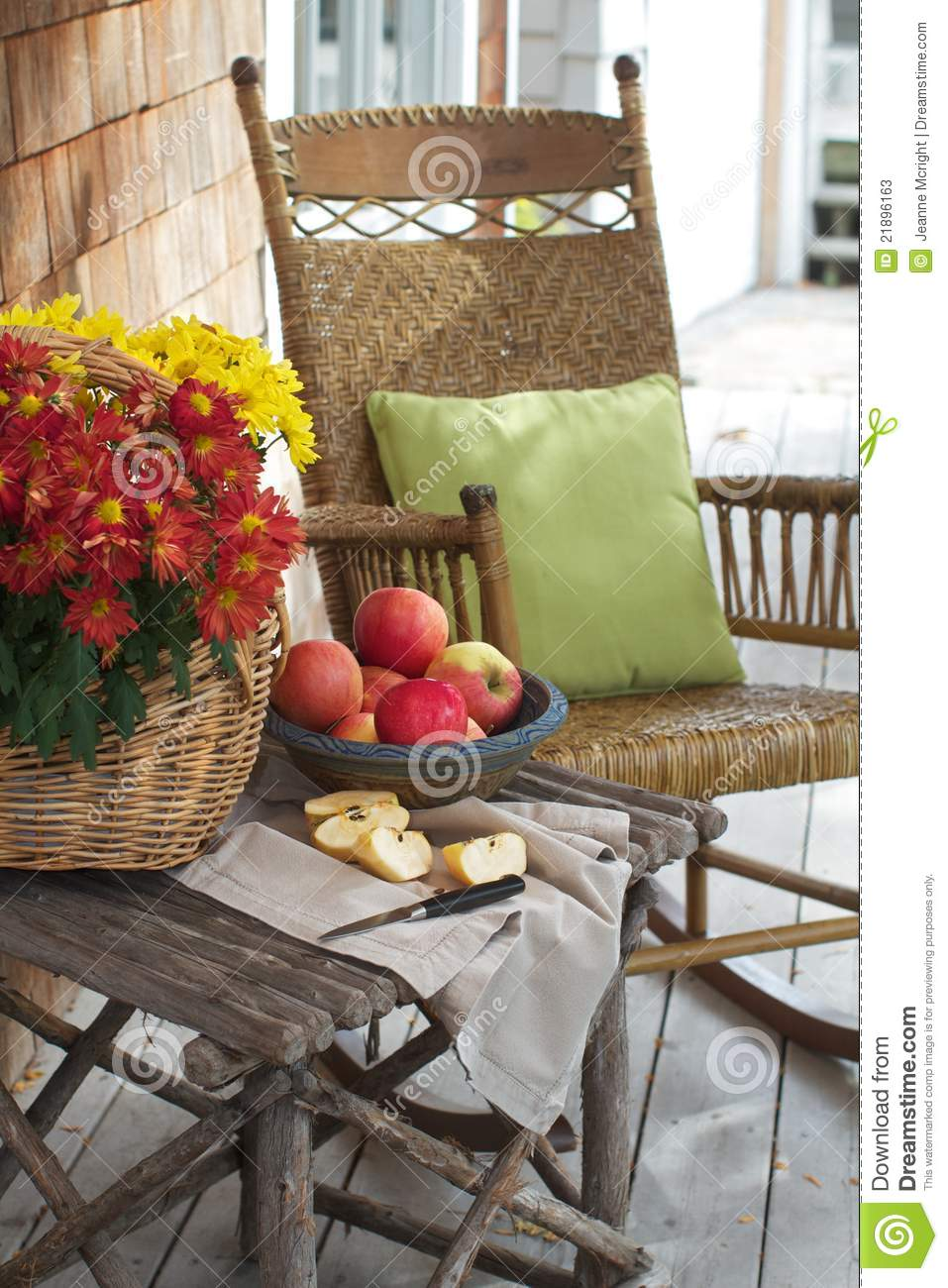 Awe Inspiring Rustic Porch With Apples And Rocking Chair Stock Image Ibusinesslaw Wood Chair Design Ideas Ibusinesslaworg