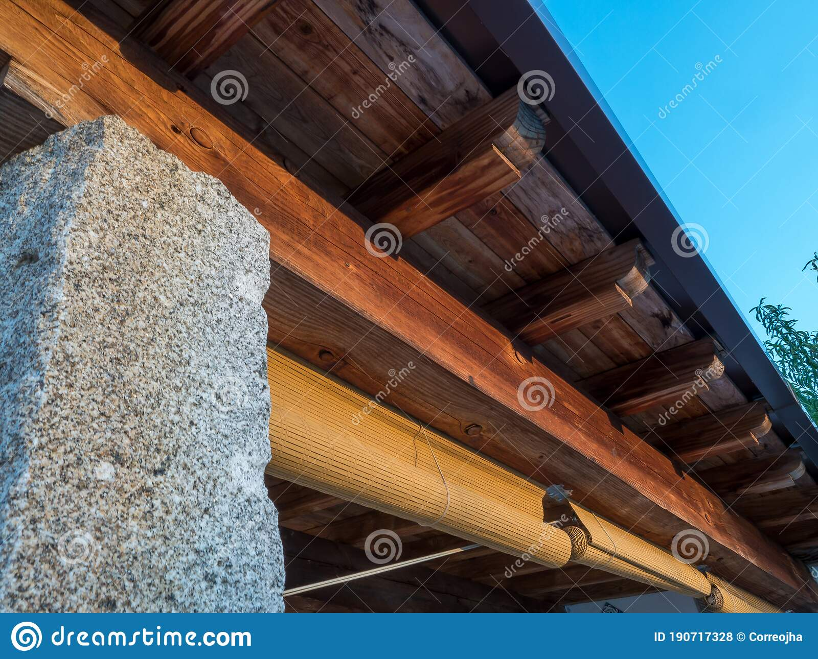Rustic Porch With Wooden Beams And Stone Columns Stock Photo Image Of Beam Abandoned 190717328